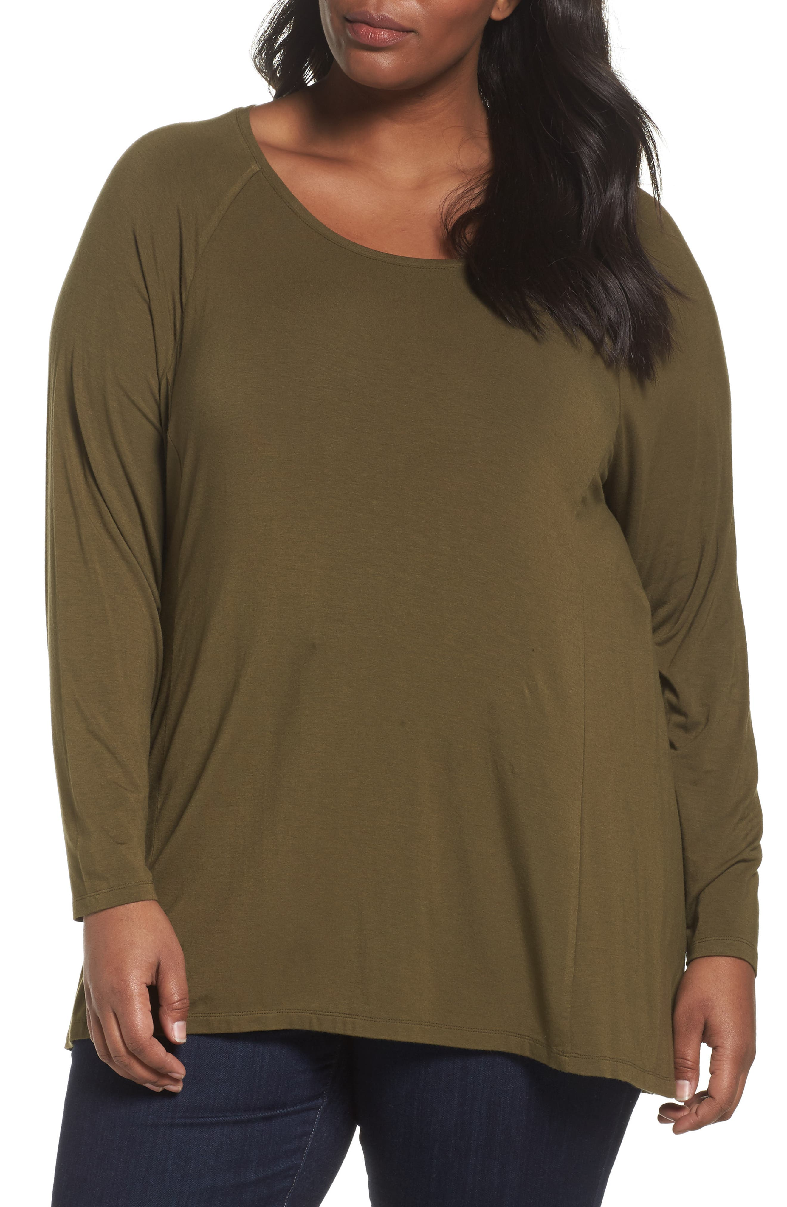 Sejour Long Sleeve Raglan Swing Tee (Plus Size)