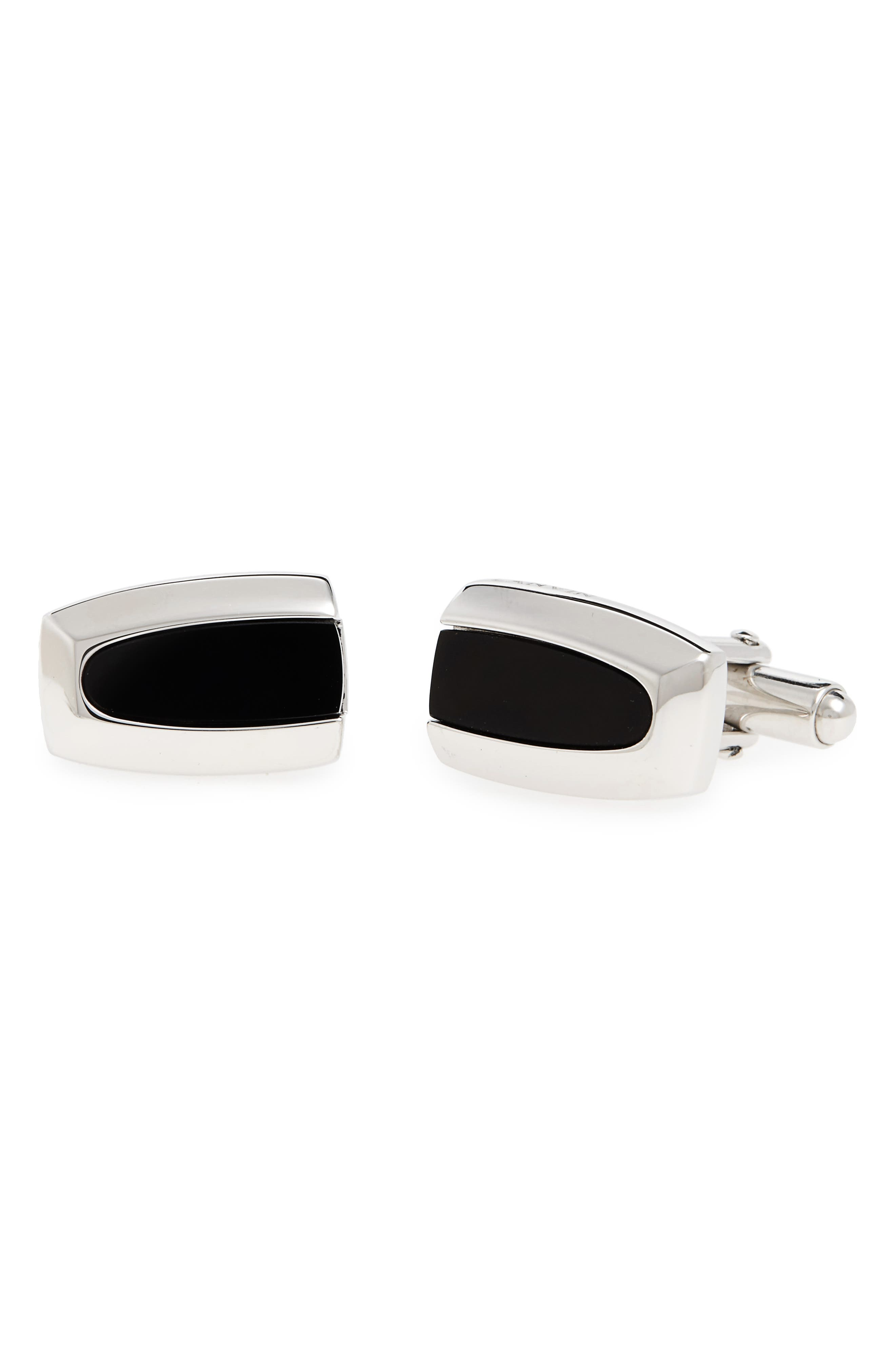 Onyx Cuff Links,                         Main,                         color, Rhodium Plated