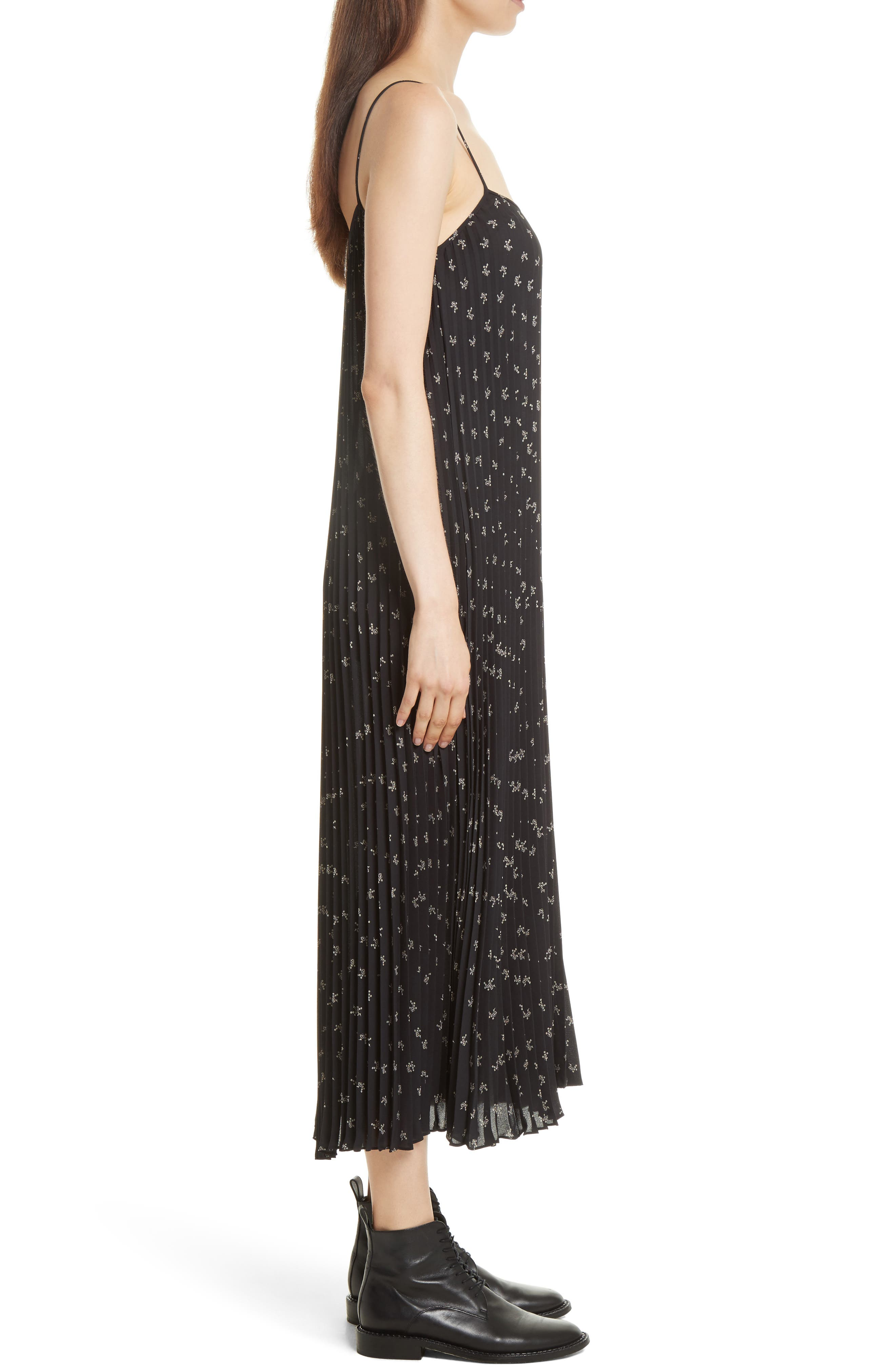 Tossed Ditsy Floral Pleated Slipdress,                             Alternate thumbnail 3, color,                             Black/ Linen