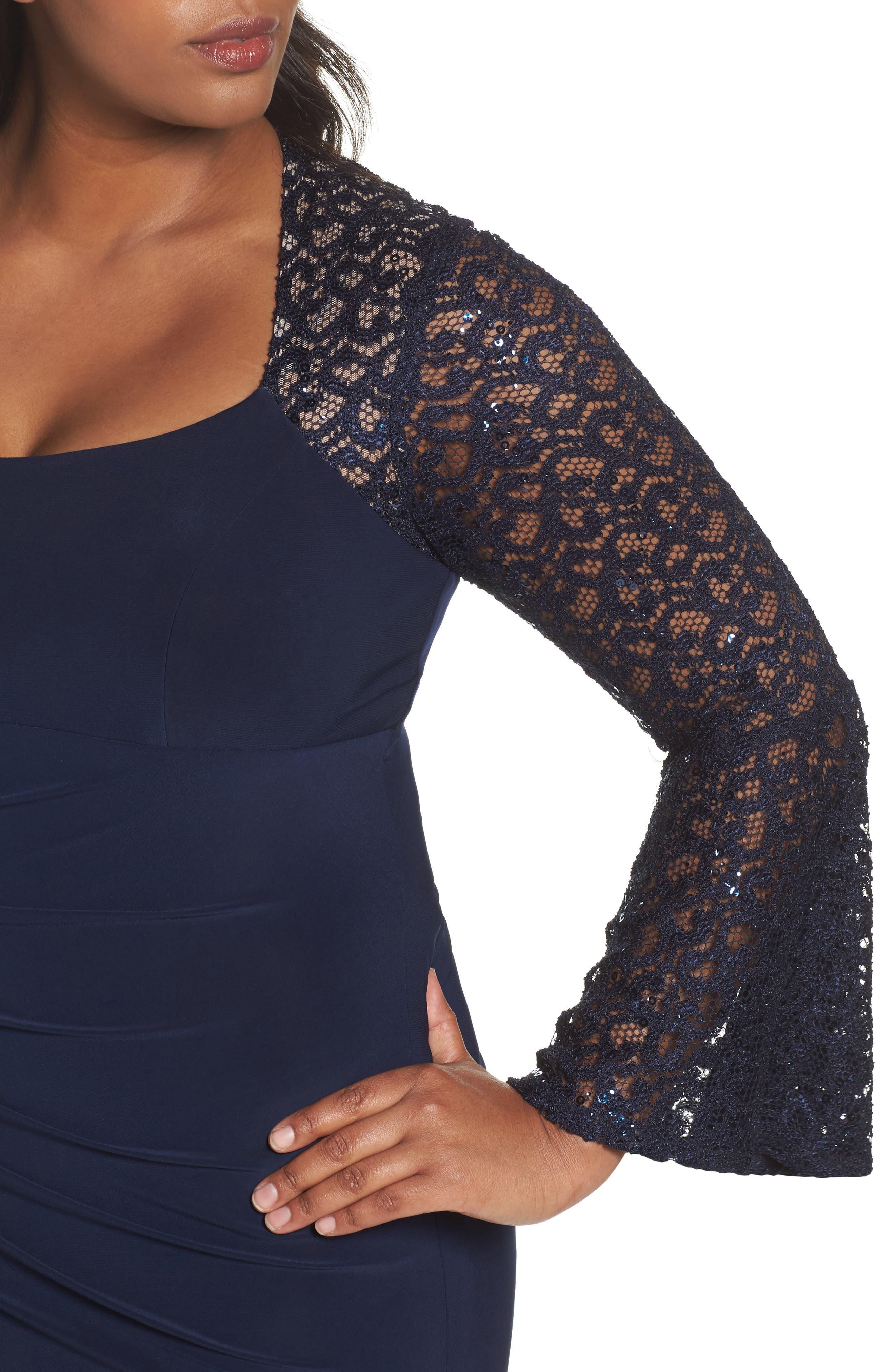 Alternate Image 4  - Xscape Ruched Lace Sleeve Sheath Dress (Plus Size)