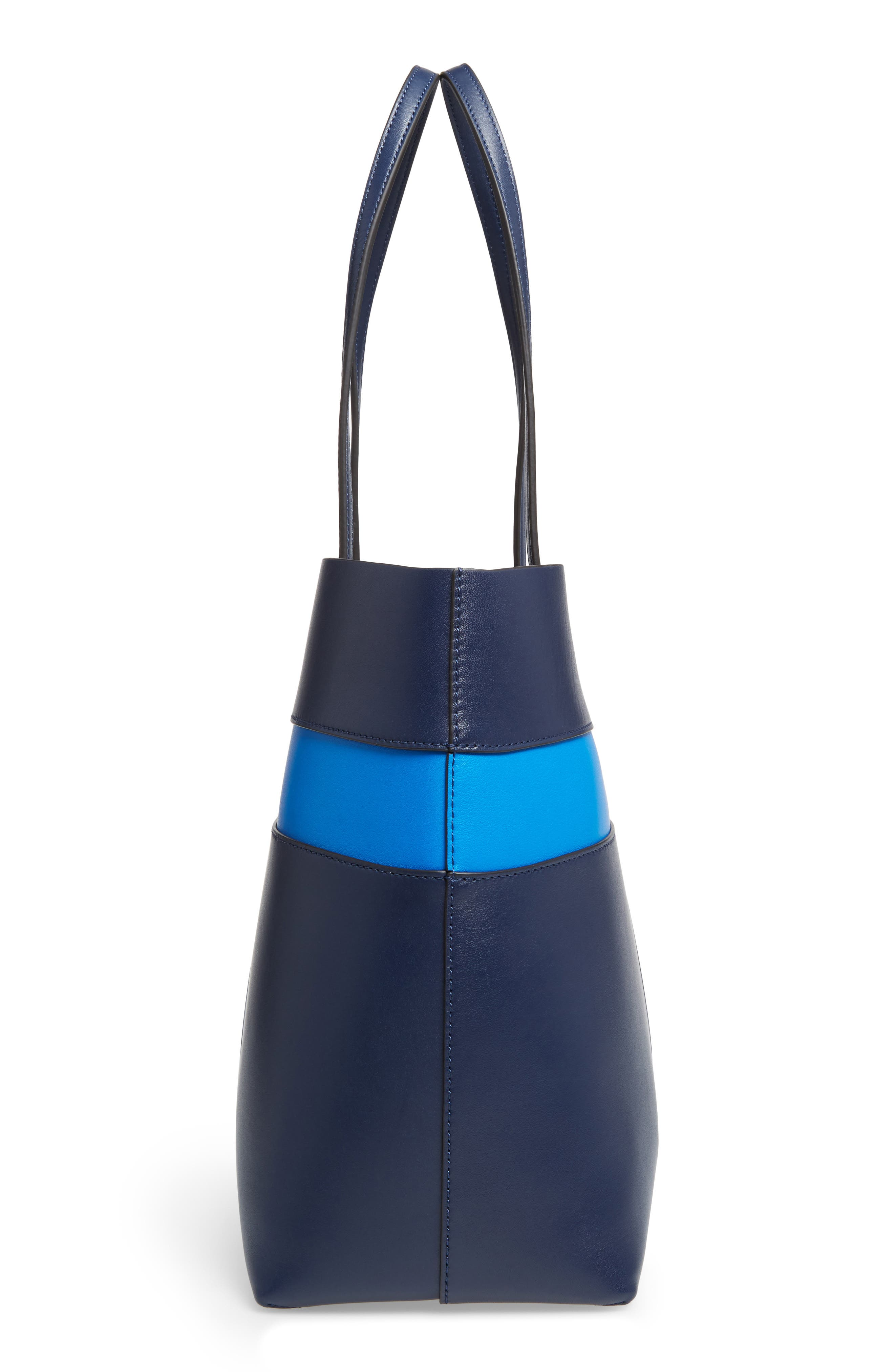 Block T Leather Tote,                             Alternate thumbnail 5, color,                             Royal Navy/ Galleria Blue