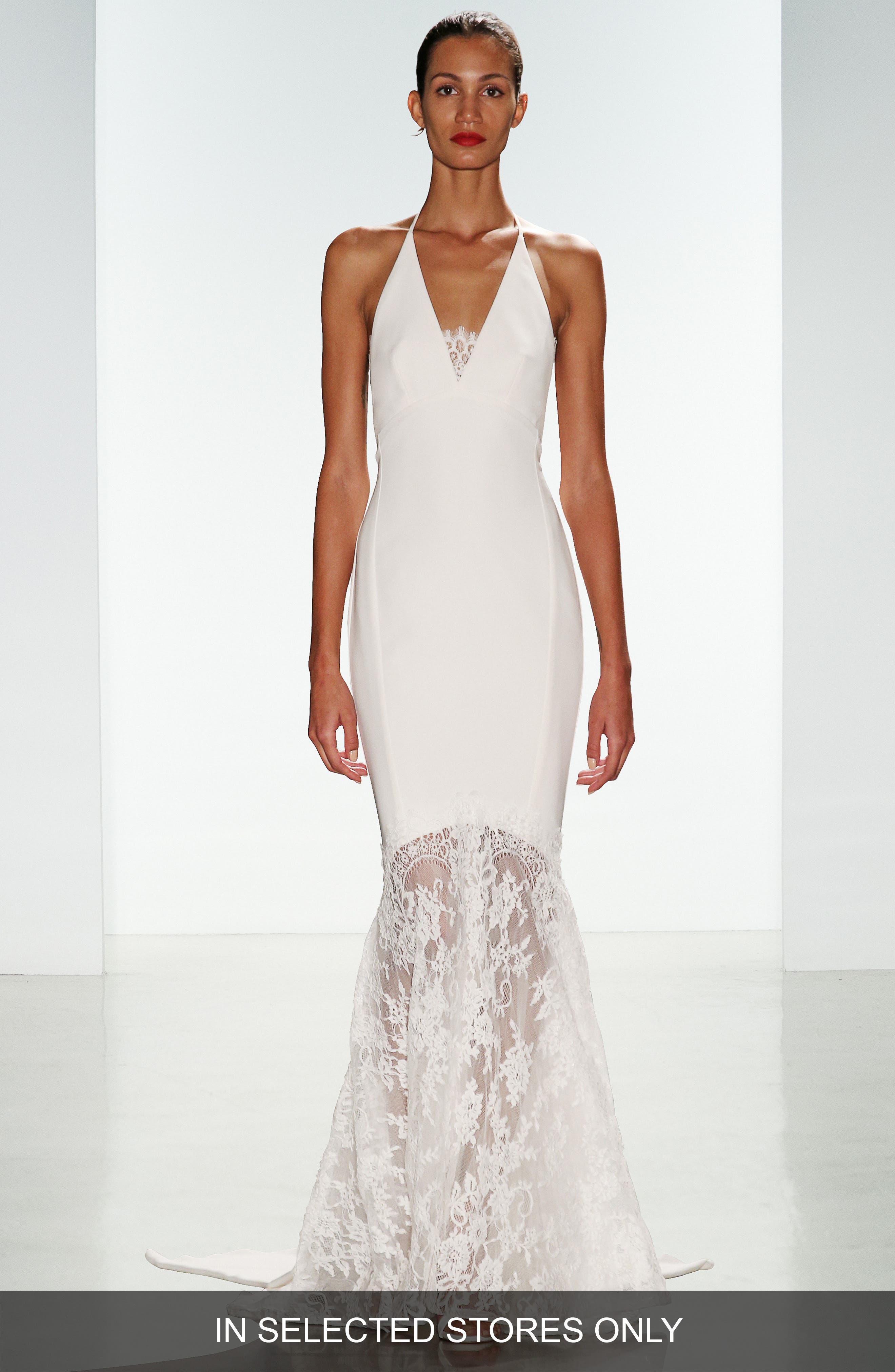 Bree Lace & Crepe Halter Gown,                         Main,                         color, Ivory