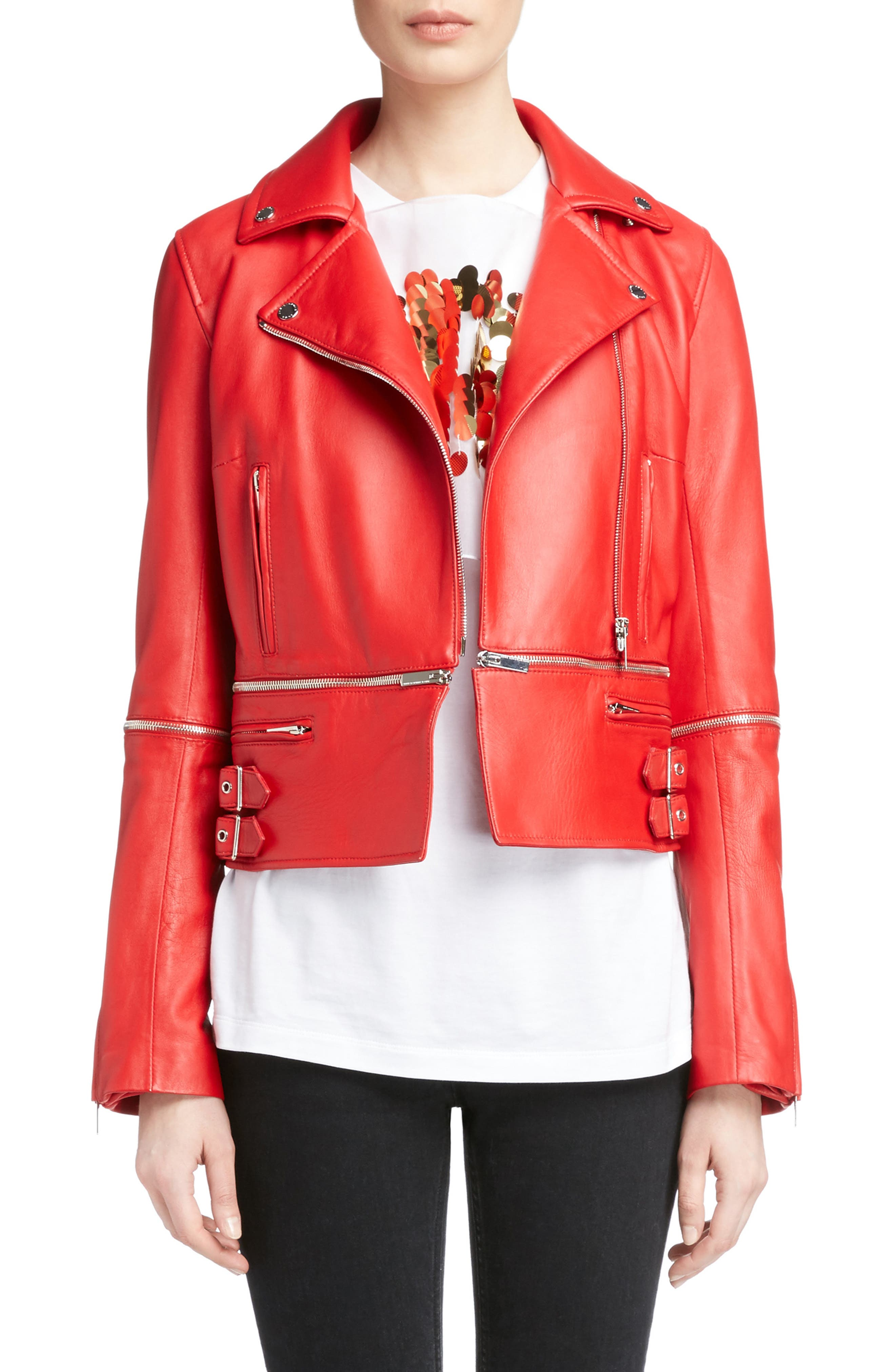 Zip Off Leather Biker Jacket,                         Main,                         color, Primary Red