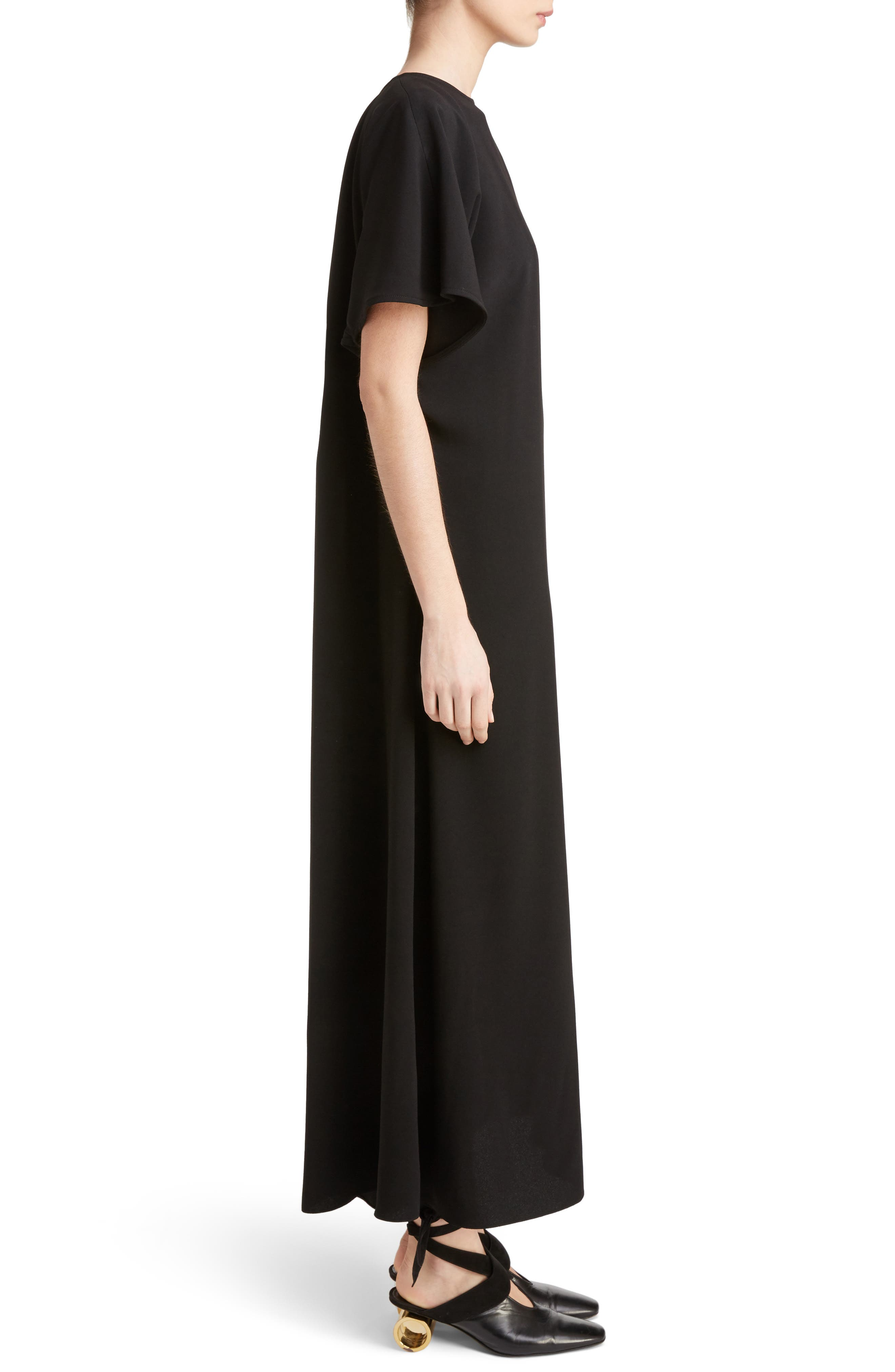 J.W.ANDERSON Cap Sleeve Maxi Dress,                             Alternate thumbnail 3, color,                             Black