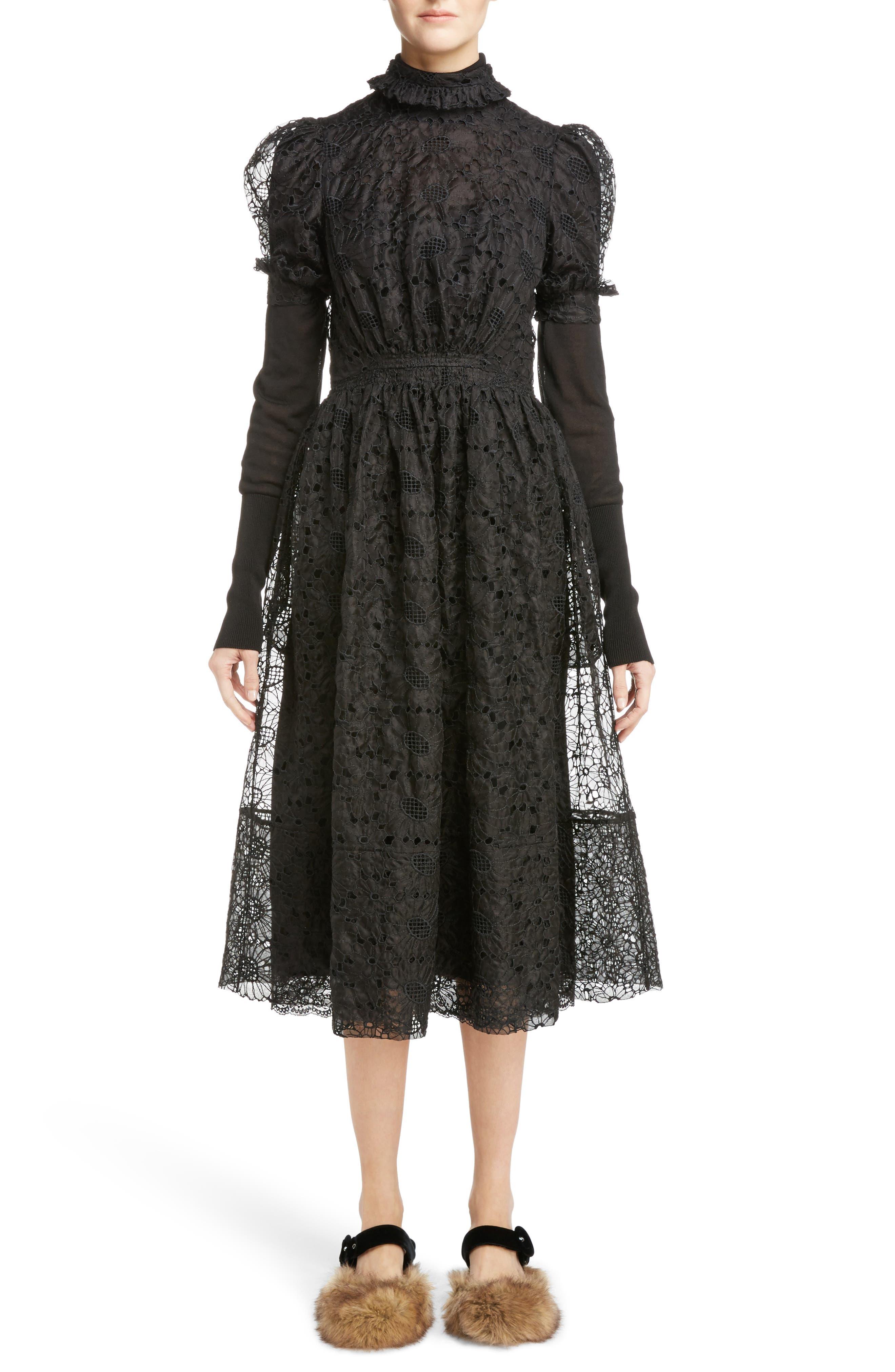 Alternate Image 5  - Simone Rocha Smocked Waist Floral Organza Dress