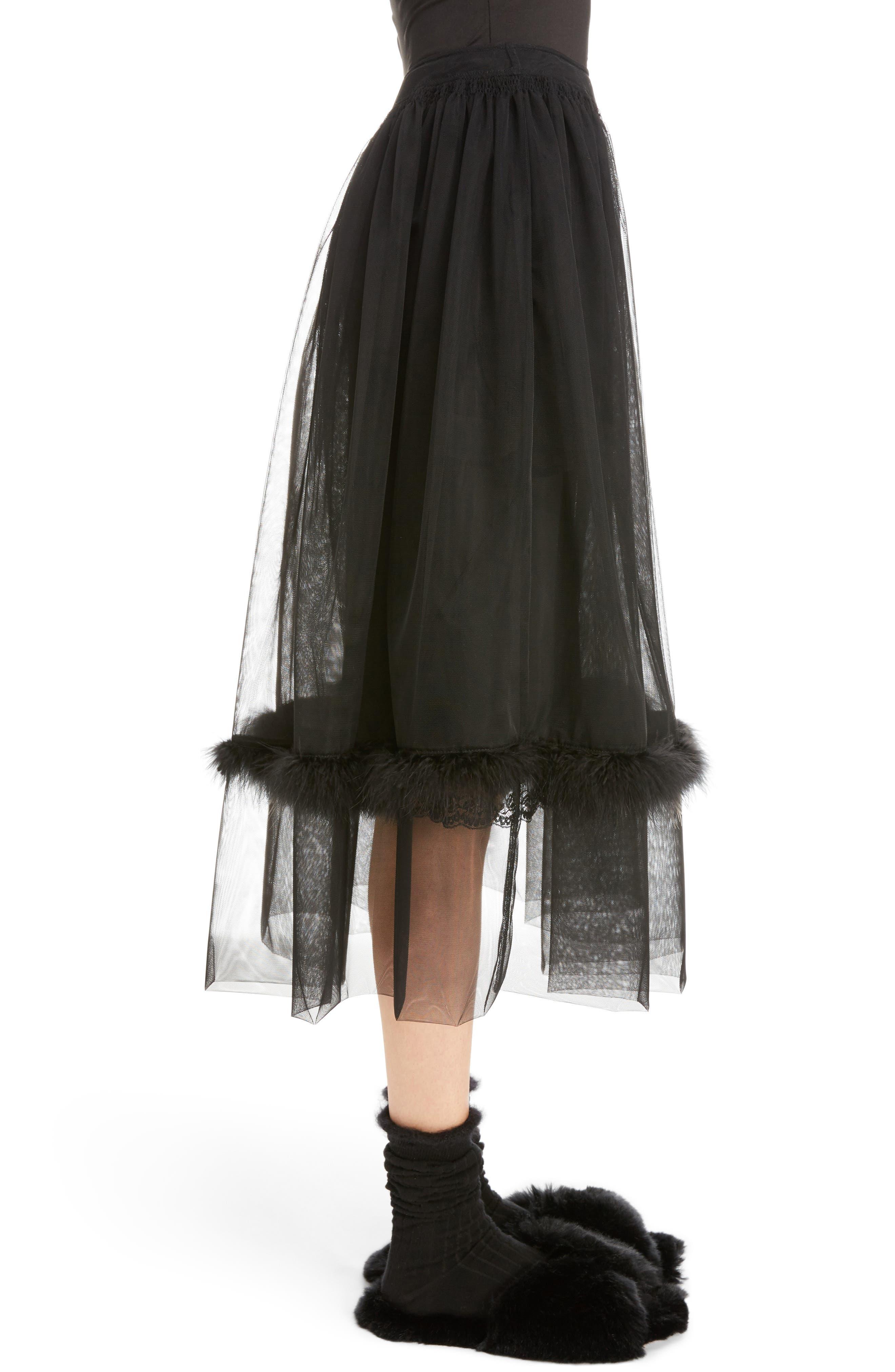 Marabou Trim Smock Waist Tulle Skirt,                             Alternate thumbnail 4, color,                             Black