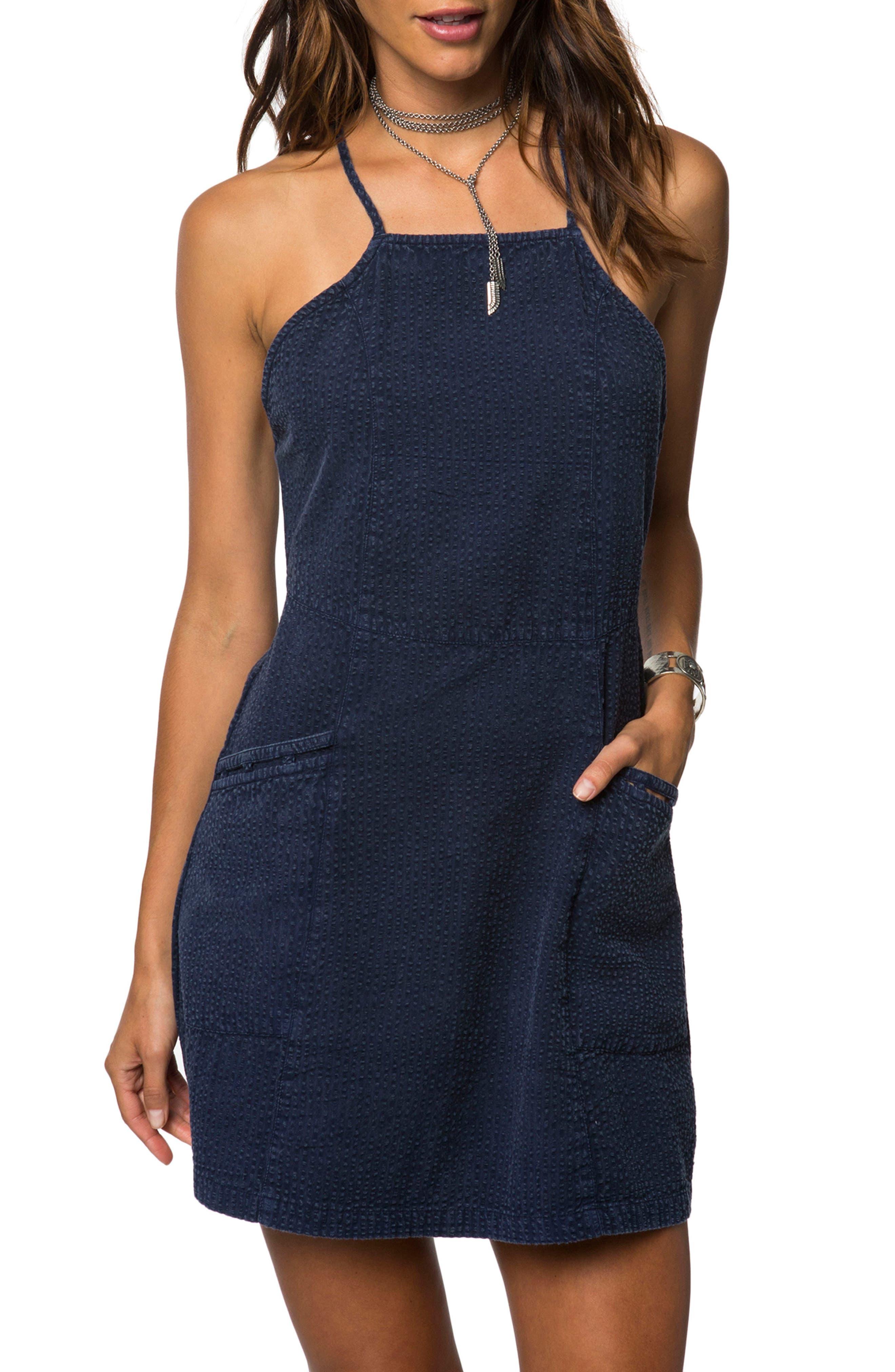 Esme Seersucker Apron Dress,                             Main thumbnail 1, color,                             Evening Blue