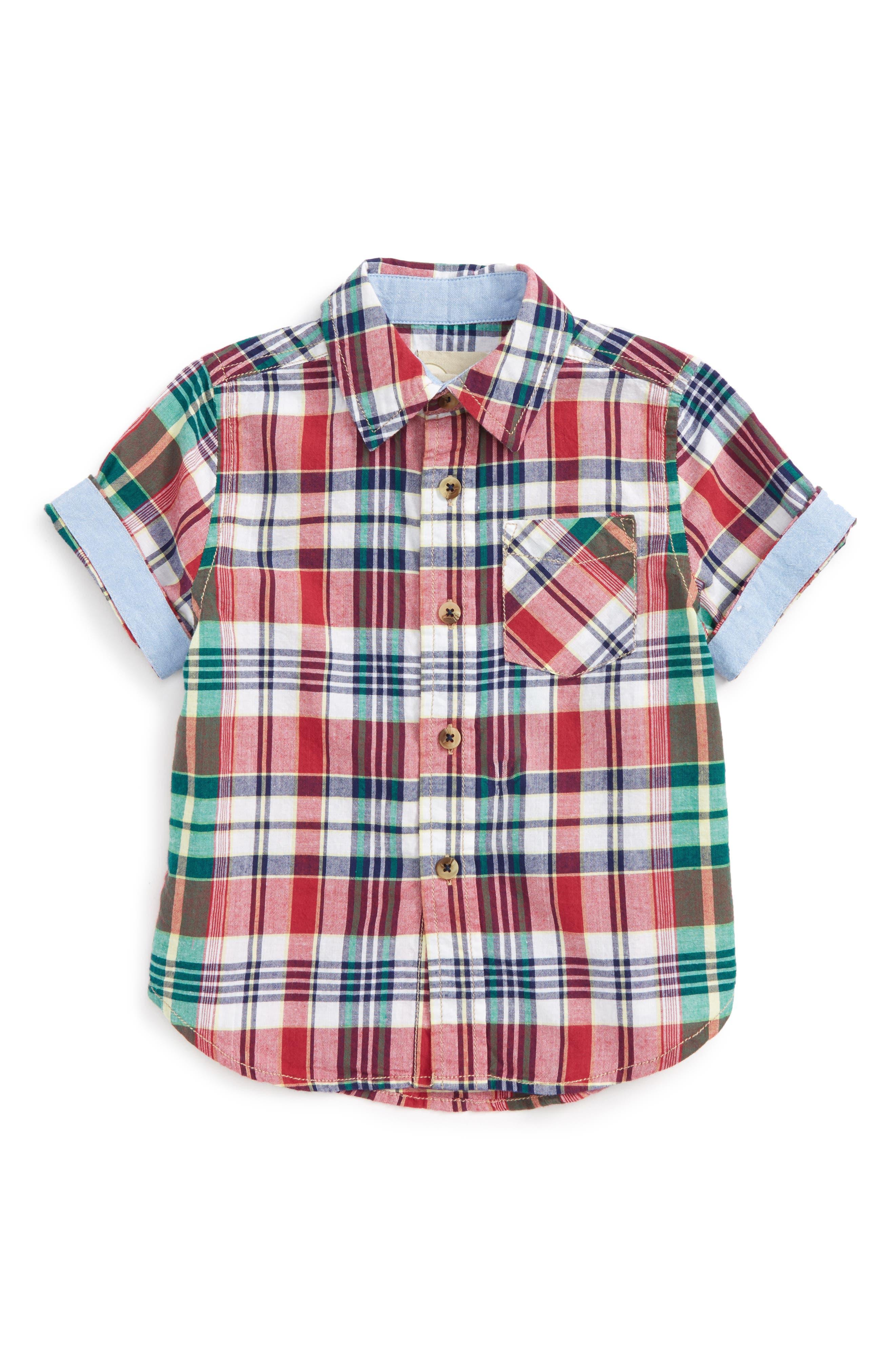 Plaid Shirt,                         Main,                         color, Red