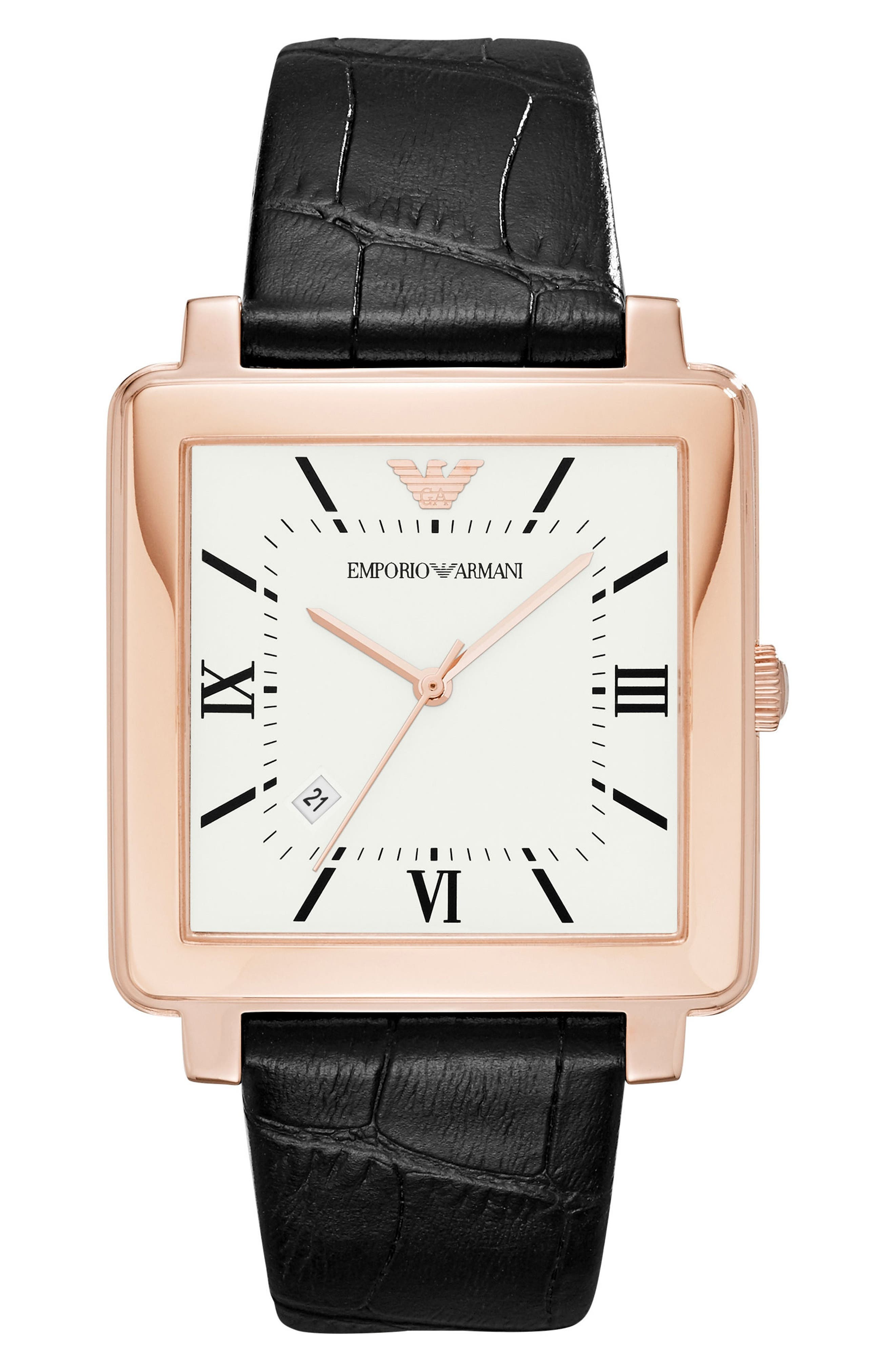 EMPORIO ARMANI Square Leather Strap Watch, 38mm