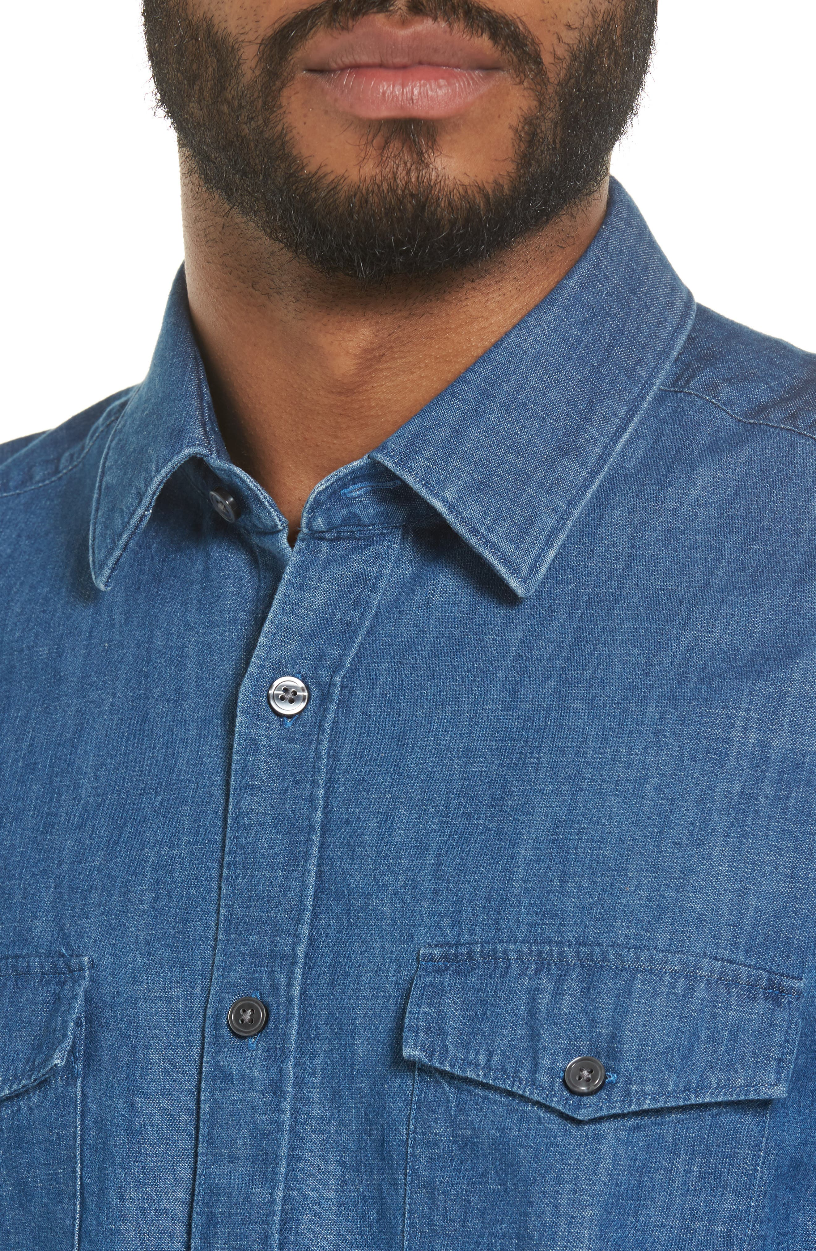 Lance Regular Fit Two-Pocket Denim Sport Shirt,                             Alternate thumbnail 4, color,                             Blue