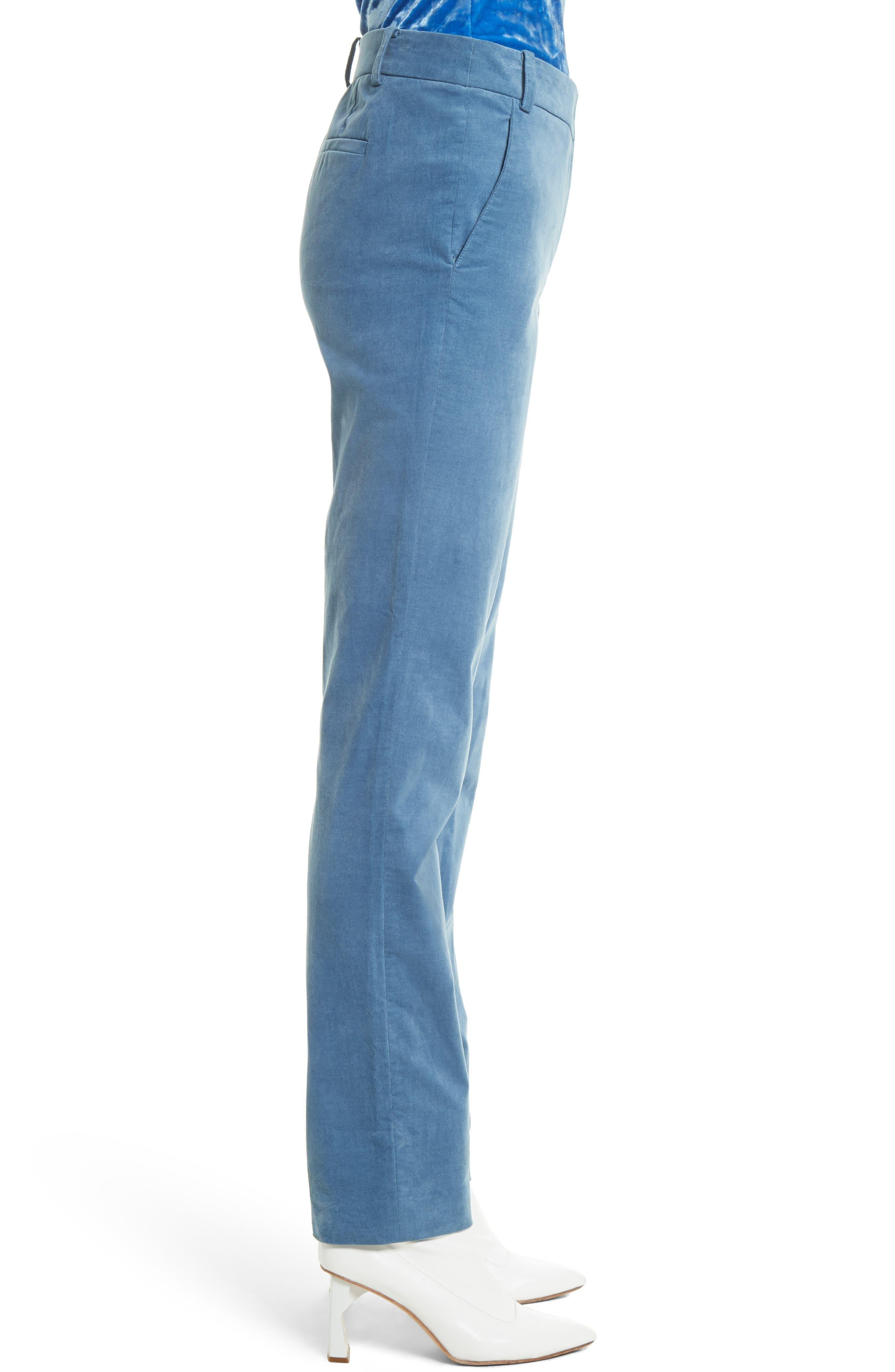 Moleskin Stretch Cotton Skinny Pants,                             Alternate thumbnail 4, color,                             Blue