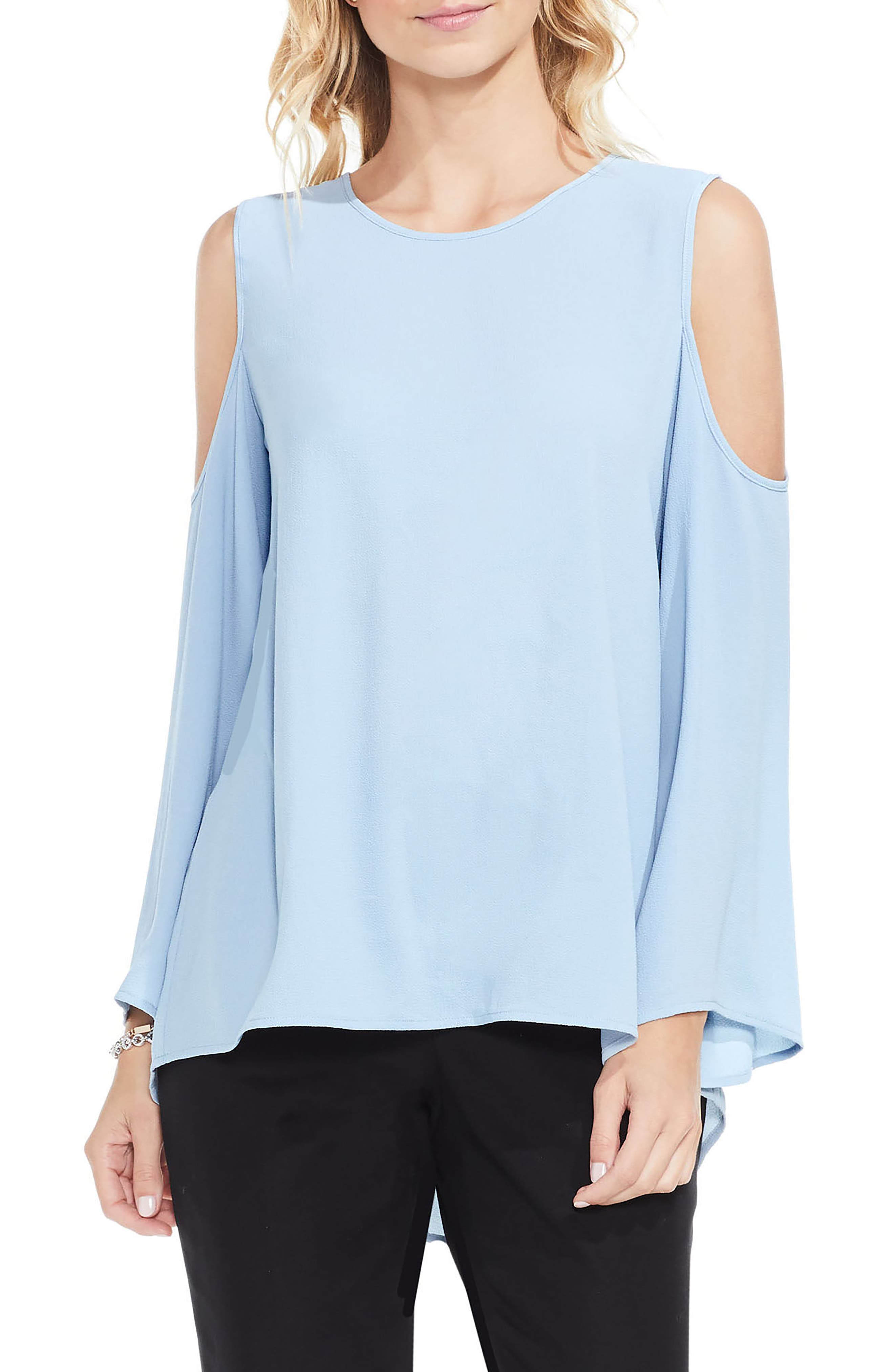 Bell Sleeve Cold Shoulder Blouse,                         Main,                         color, Cameo Blue