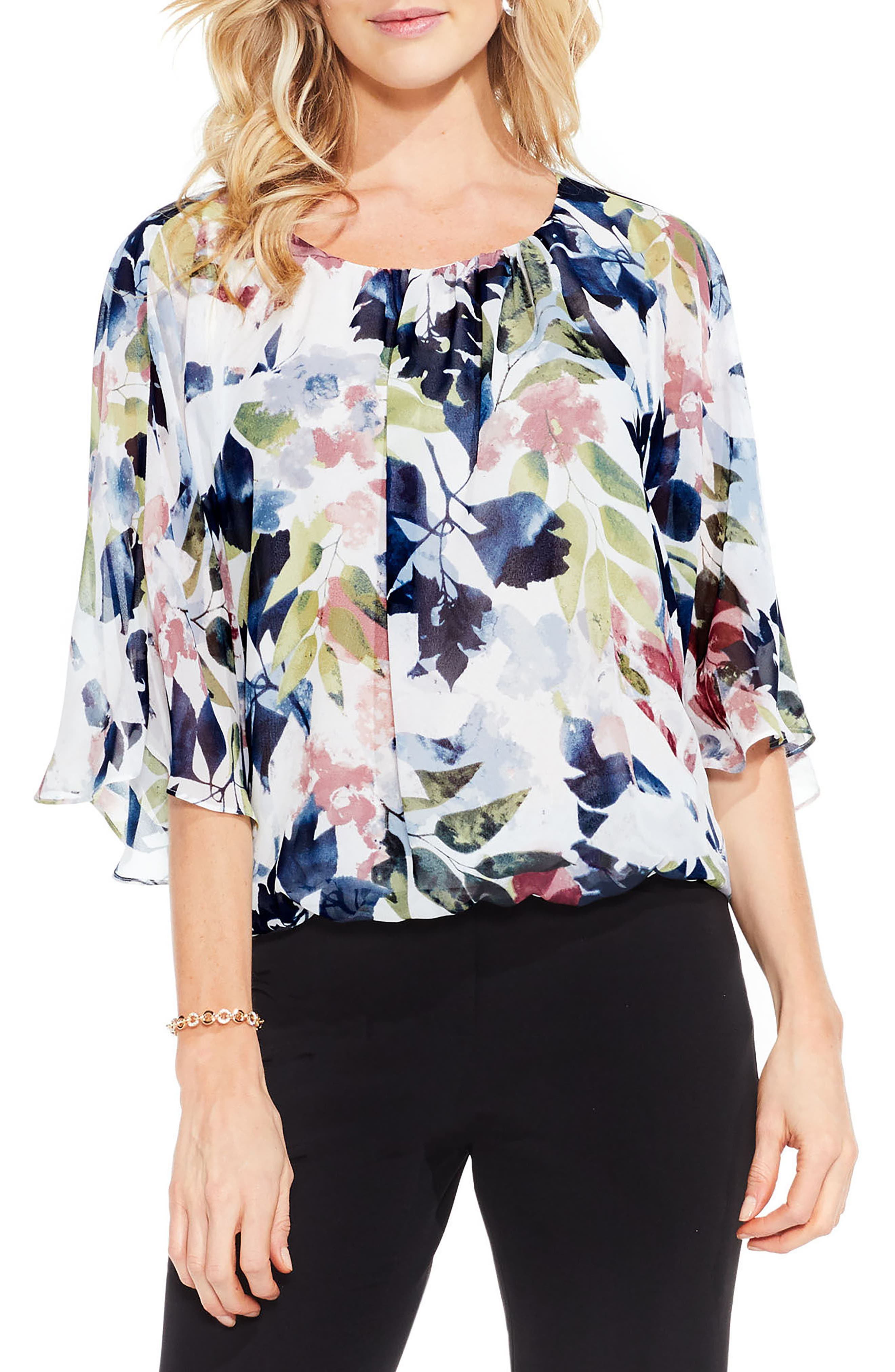 Alternate Image 1 Selected - Vince Camuto Garden Expressions Batwing Crepe Top