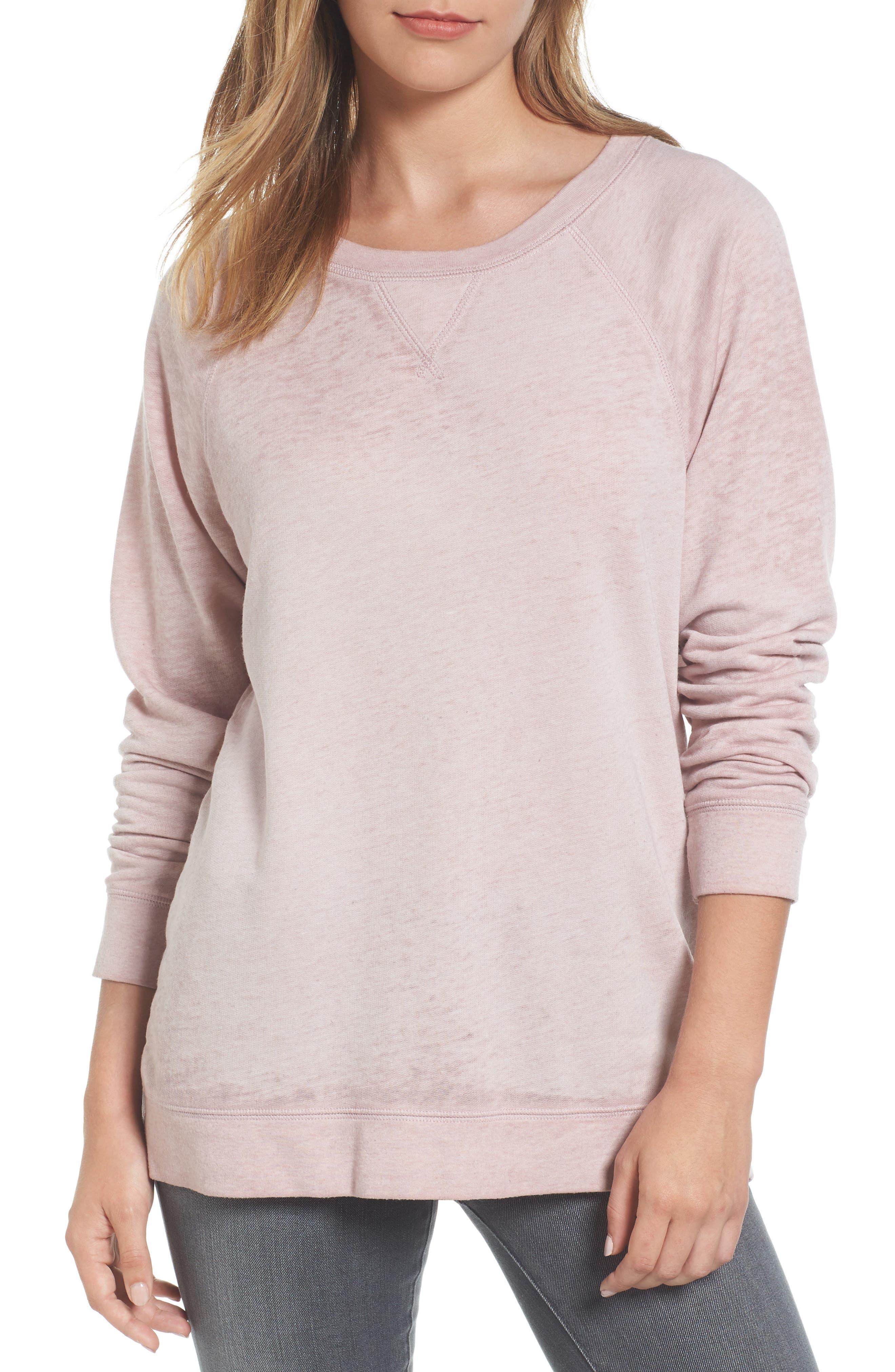 Burnout Sweatshirt,                         Main,                         color, Pink Adobe