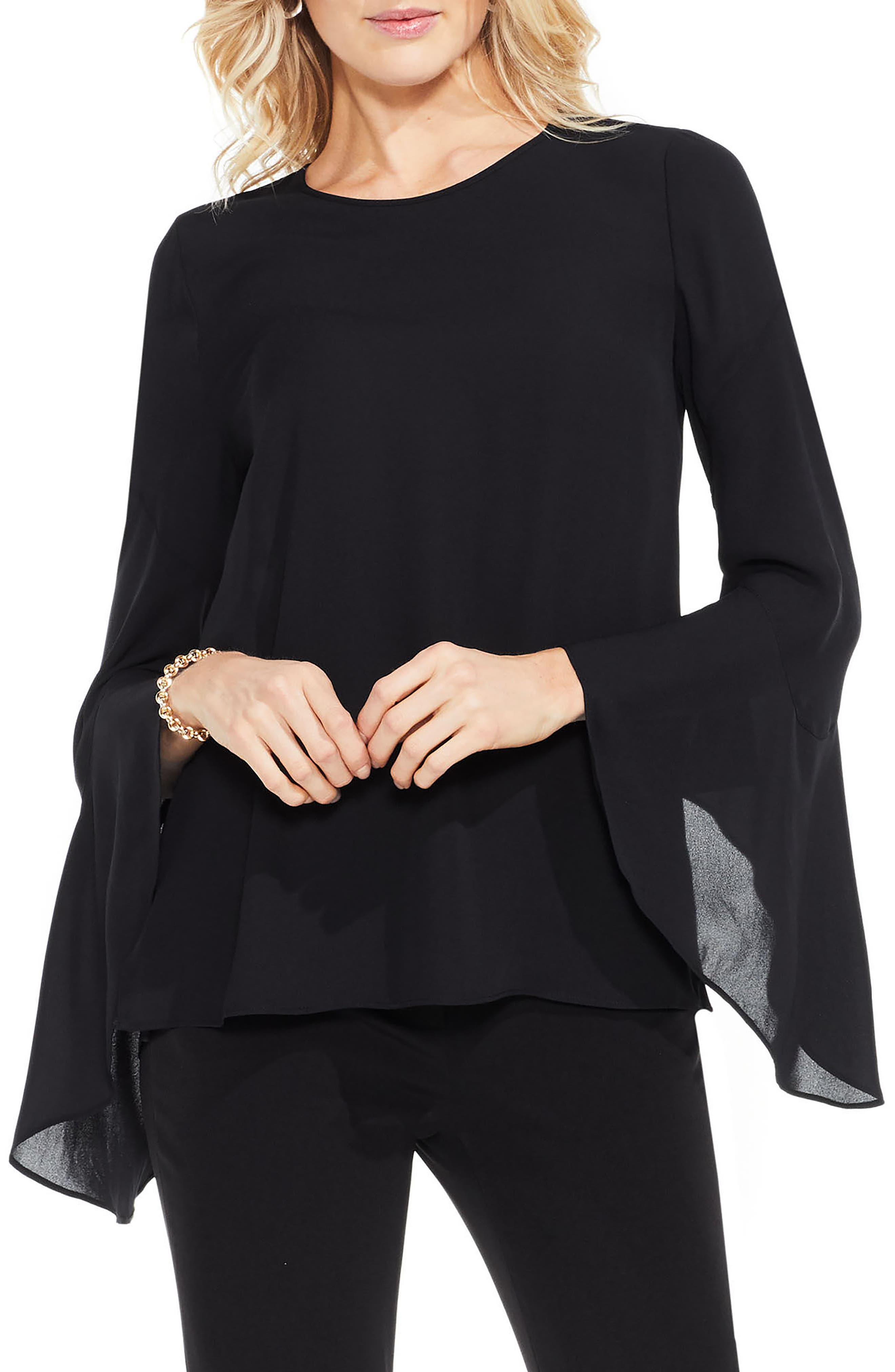 Bell Sleeve Blouse,                         Main,                         color, Rich Black