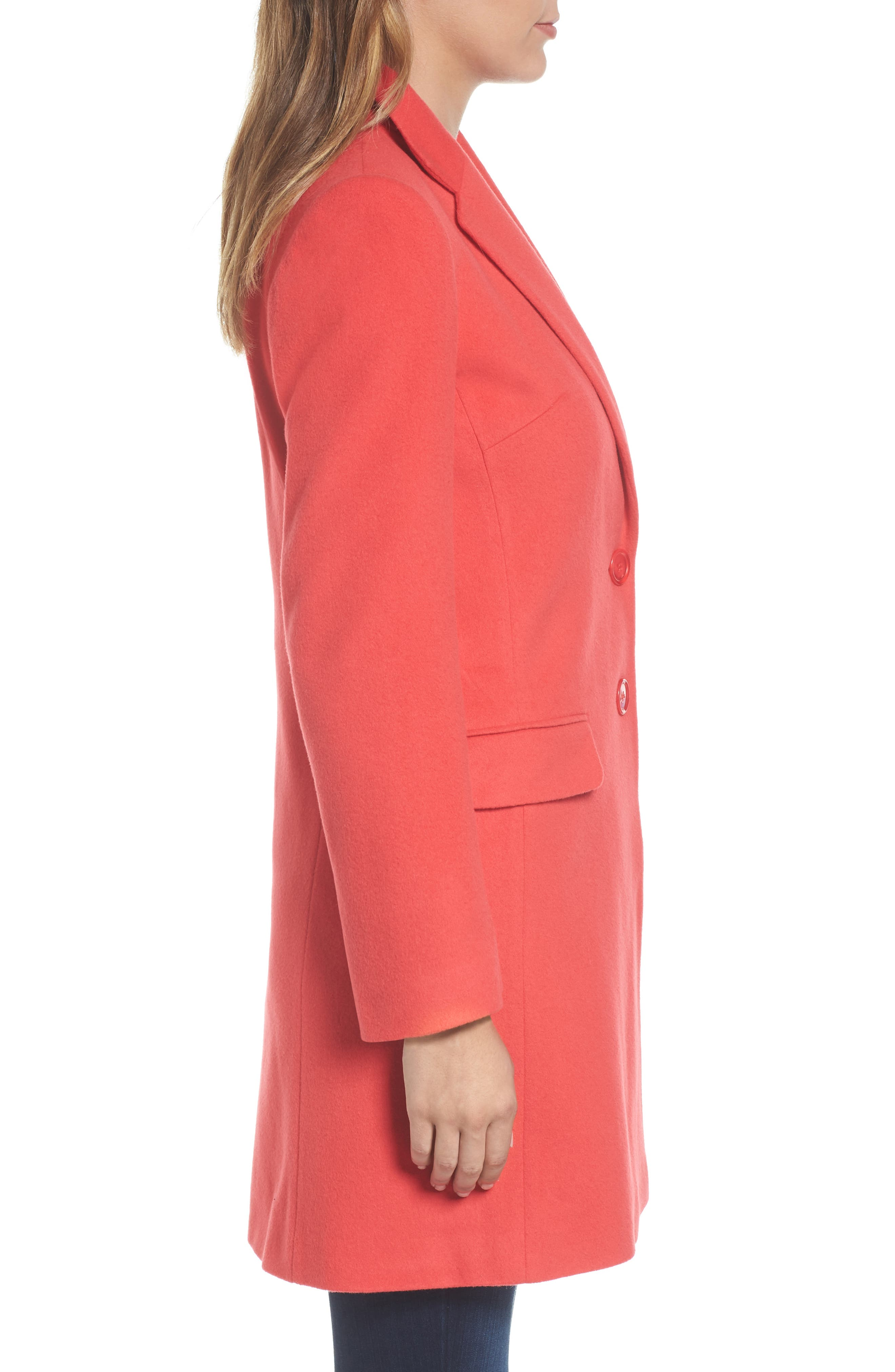 Charles Gray London Wool Blend College Coat,                             Alternate thumbnail 4, color,                             Coral