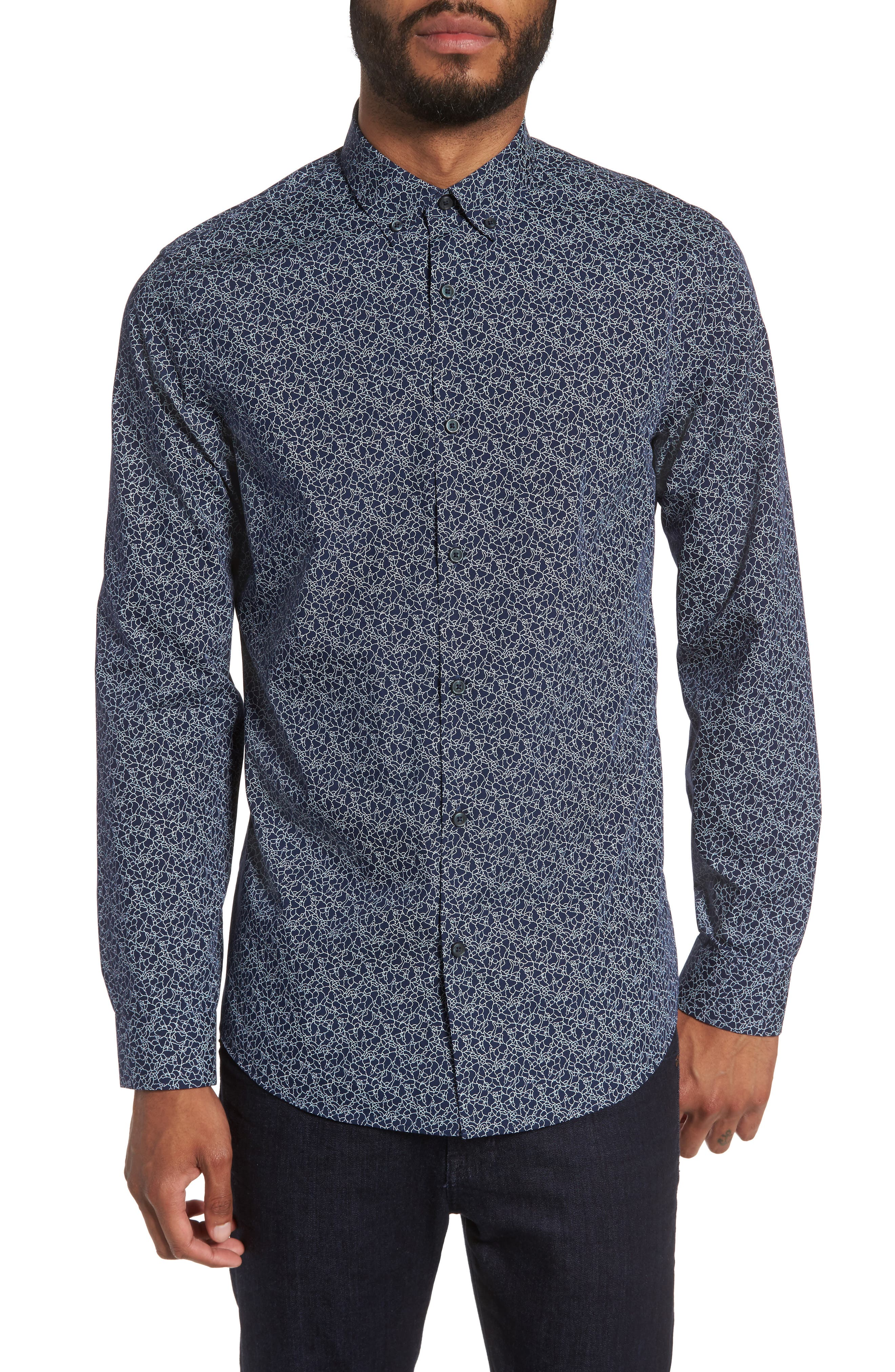 Slim Fit Print Sport Shirt,                         Main,                         color, Navy Peacoat Crackle Print