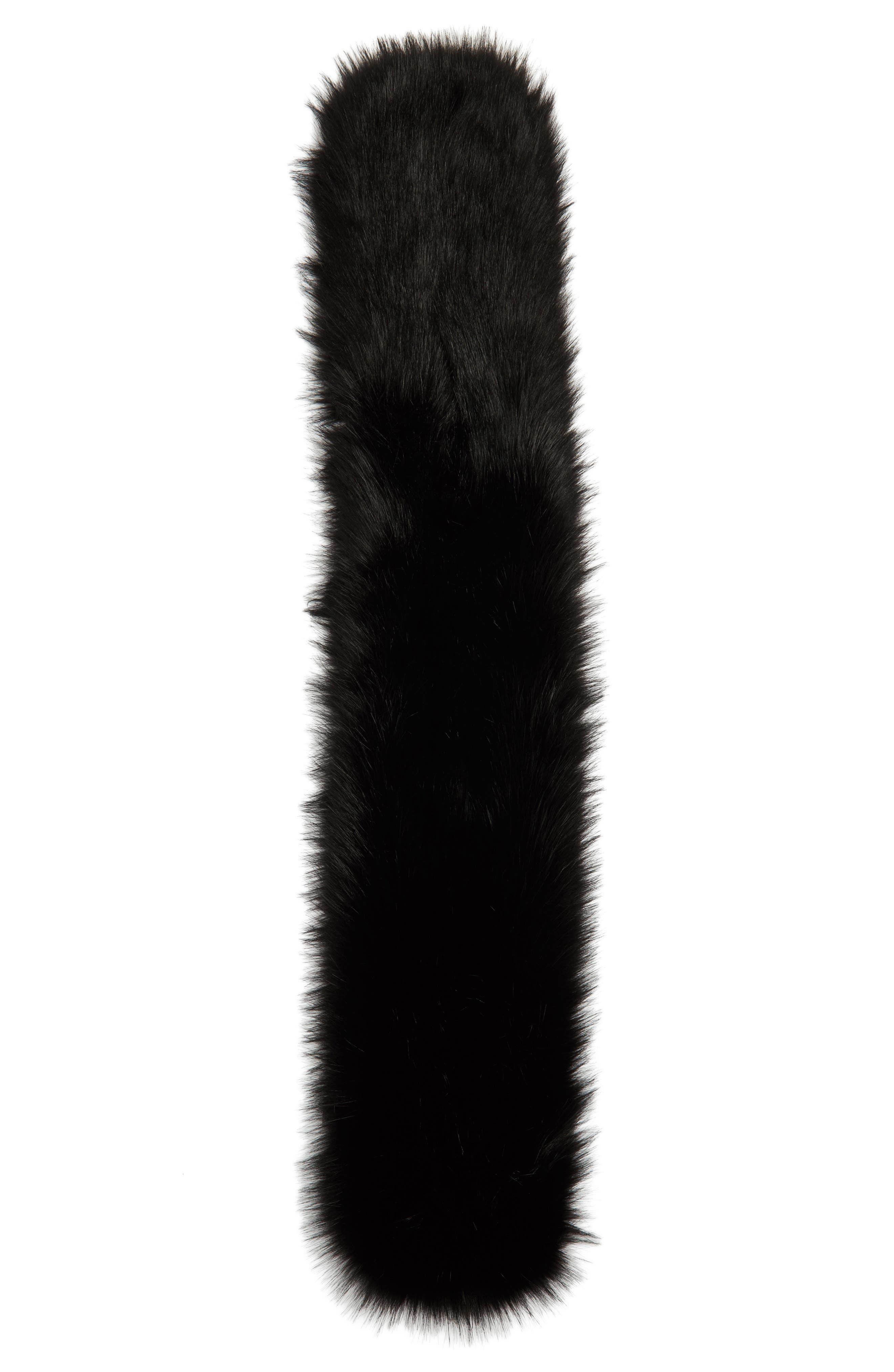 Faux Fur Stole,                             Alternate thumbnail 3, color,                             Black