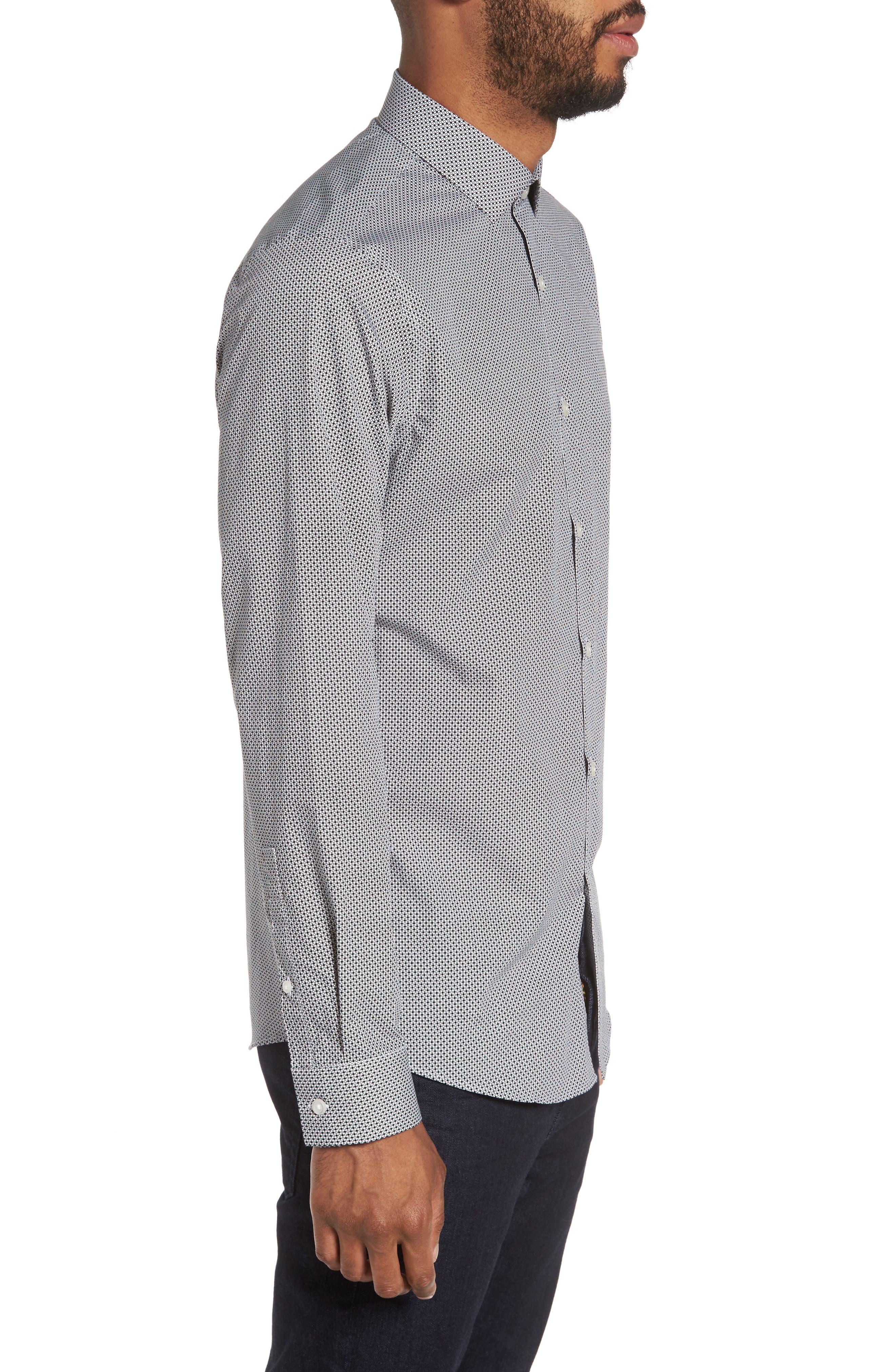 Dot Print Sport Shirt,                             Alternate thumbnail 3, color,                             White Black Mini Circle Print
