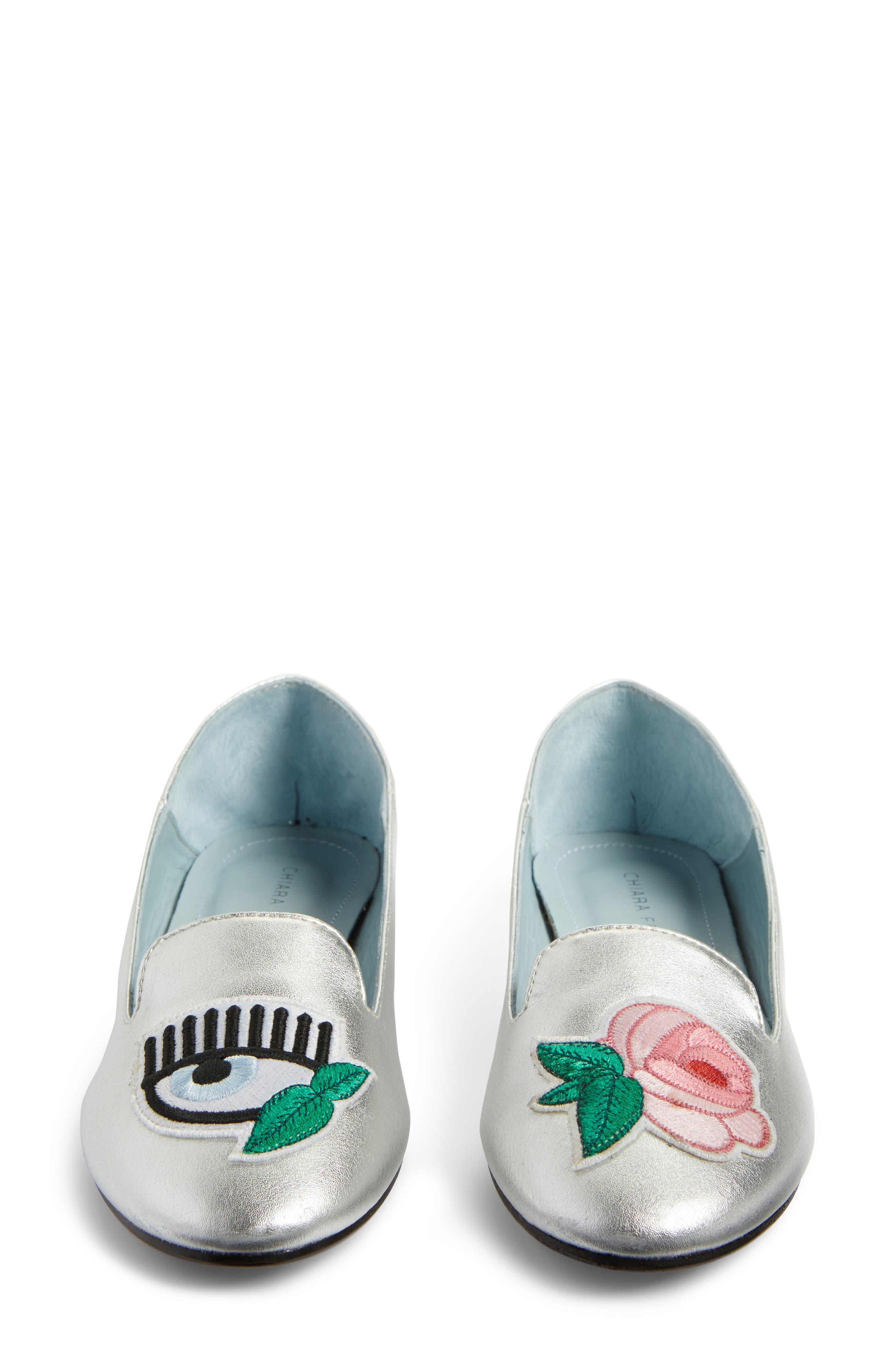 Flower Power Convertible Loafer Flat,                             Alternate thumbnail 5, color,                             Silver