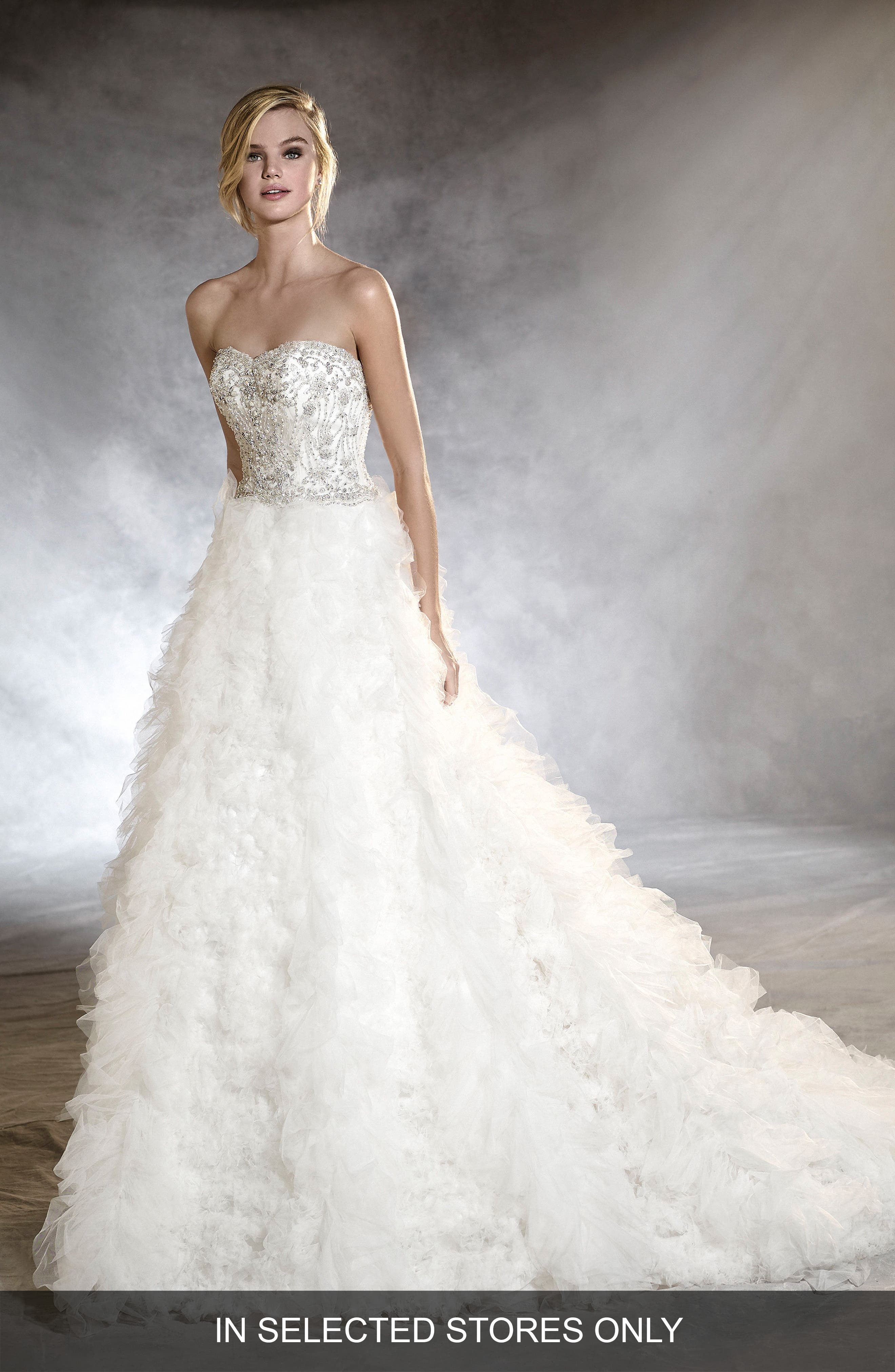 Onoria Strapless Tulle A-Line Gown,                             Main thumbnail 1, color,                             Off White