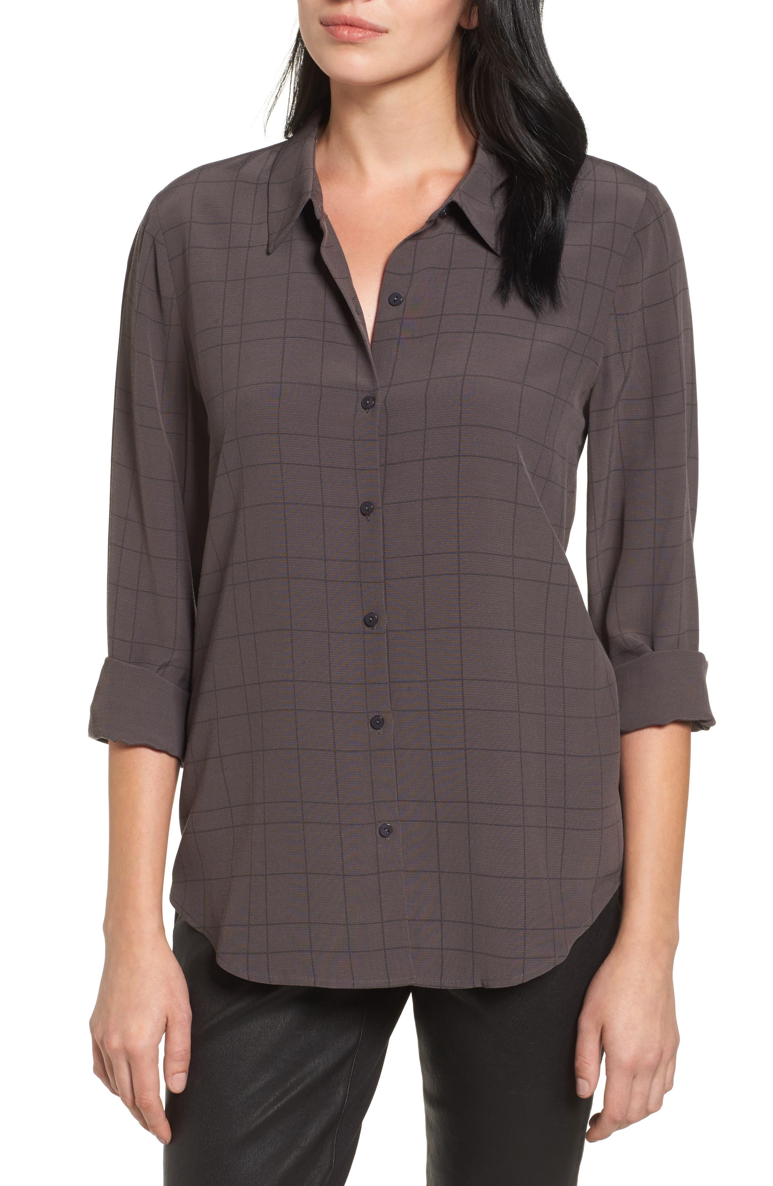 Main Image - Eileen Fisher Windowpane Classic Collar Shirt