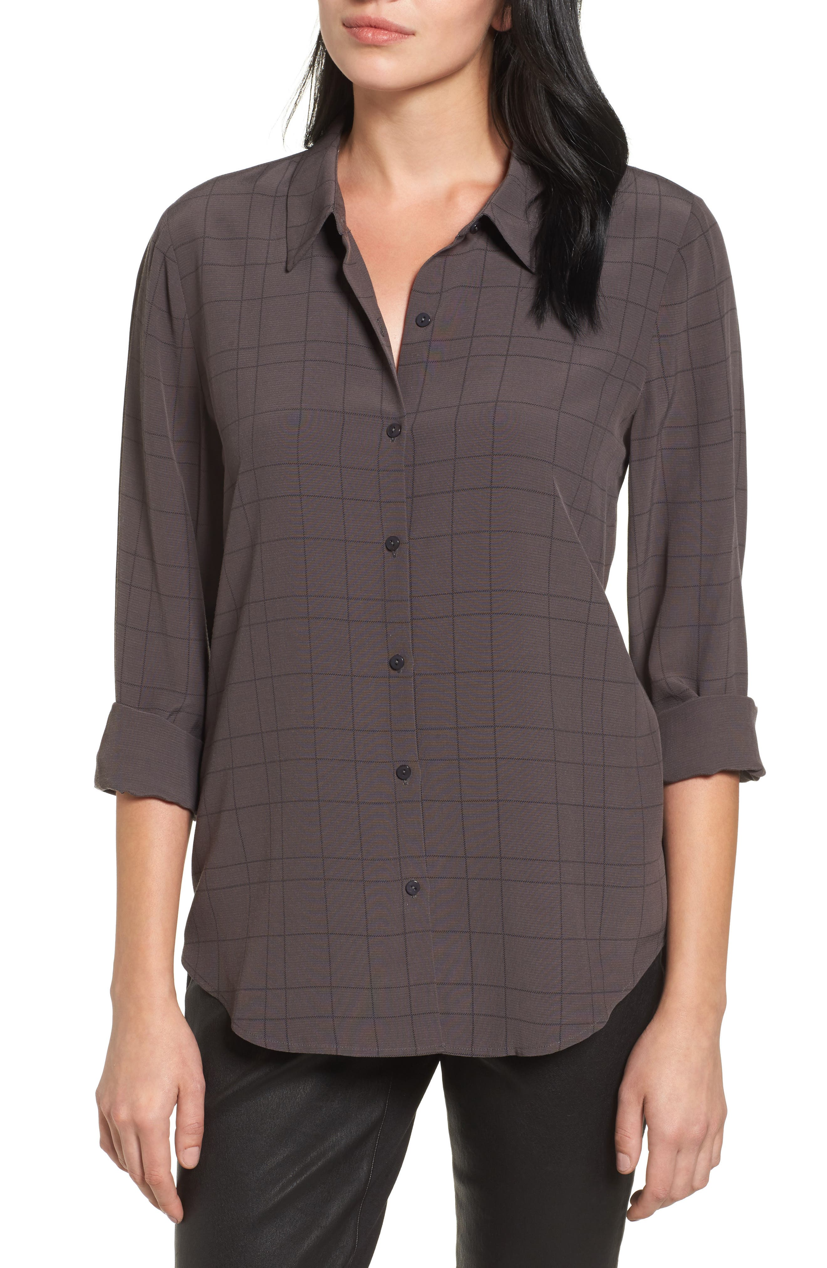 Eileen Fisher Windowpane Classic Collar Shirt