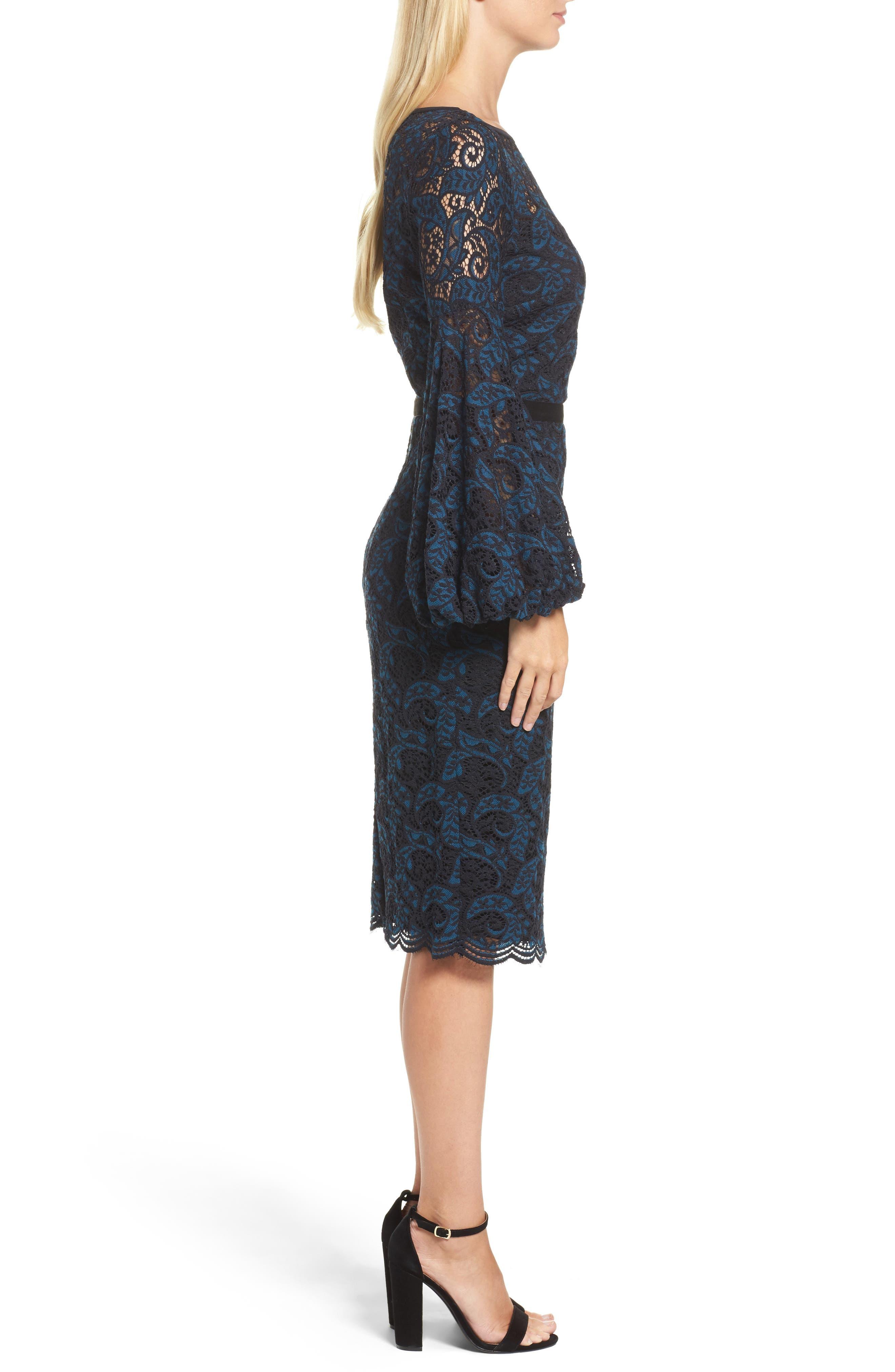 Lace Bishop Sleeve Dress,                             Alternate thumbnail 3, color,                             Blue/ Black