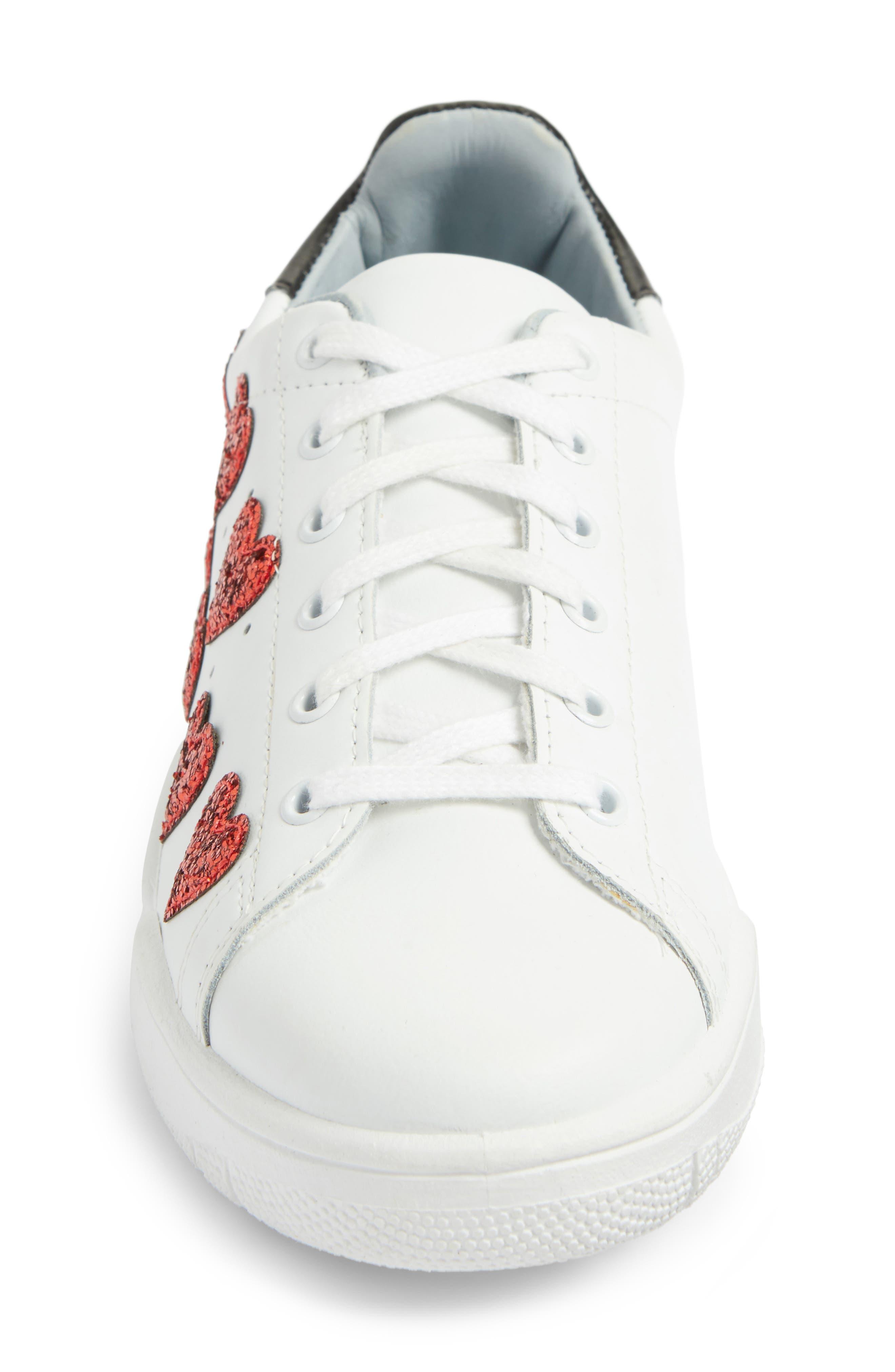 Hearts Roger Sneaker,                             Alternate thumbnail 4, color,                             White/ Red