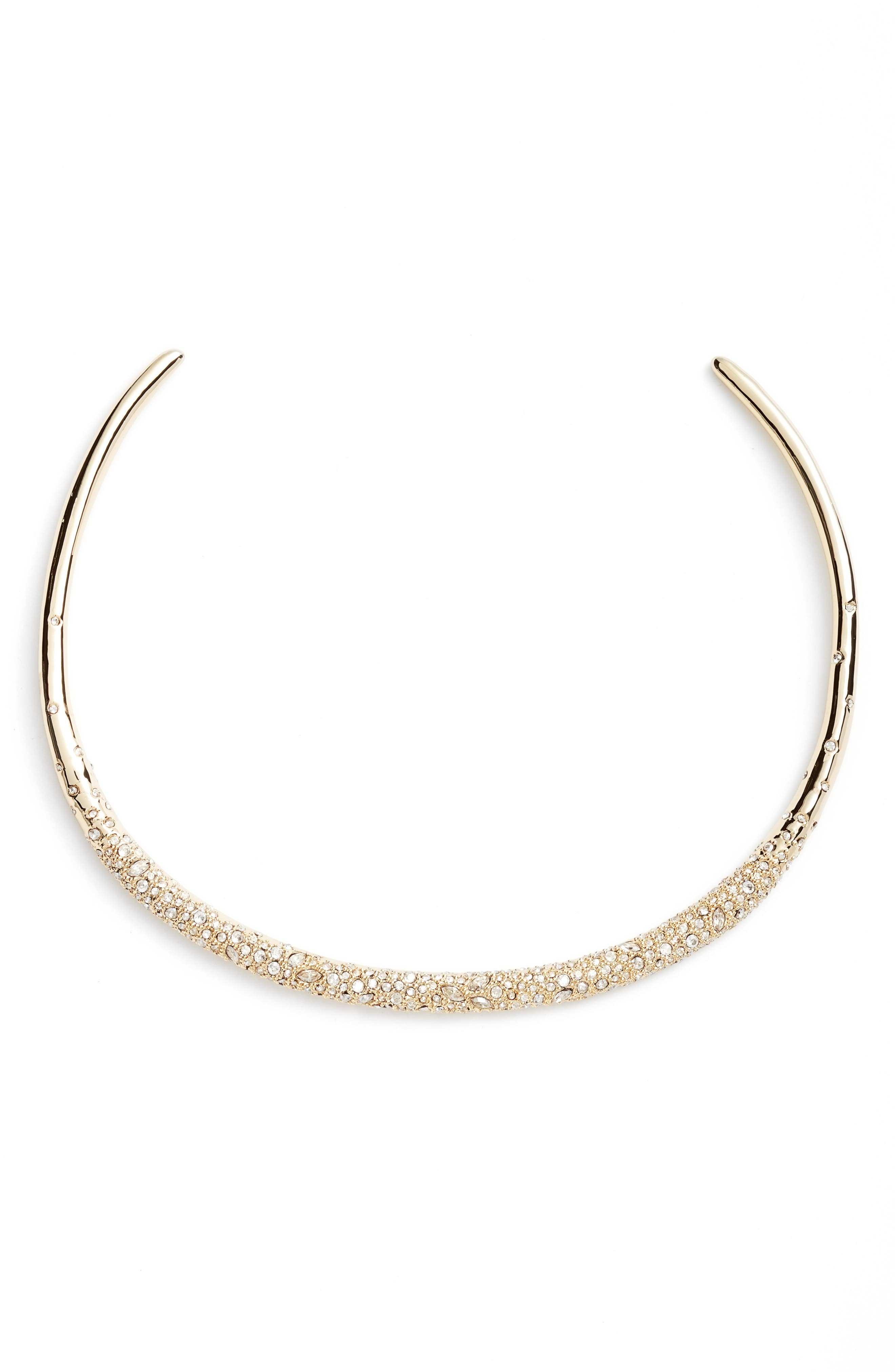 Thin Encrusted Collar Necklace,                             Main thumbnail 1, color,                             Crystal/ Gold