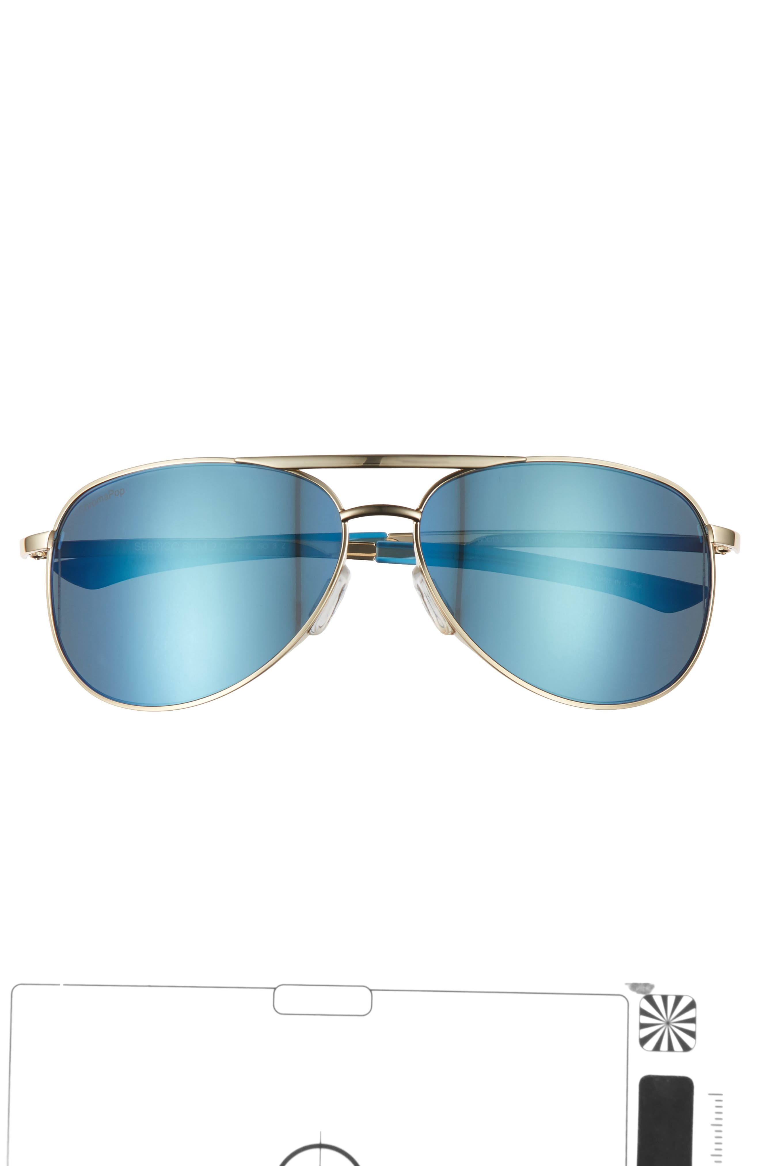 Serpico Slim 2.0 60mm ChromaPop Polarized Aviator Sunglasses,                             Alternate thumbnail 3, color,                             Gold/ Blue Polar