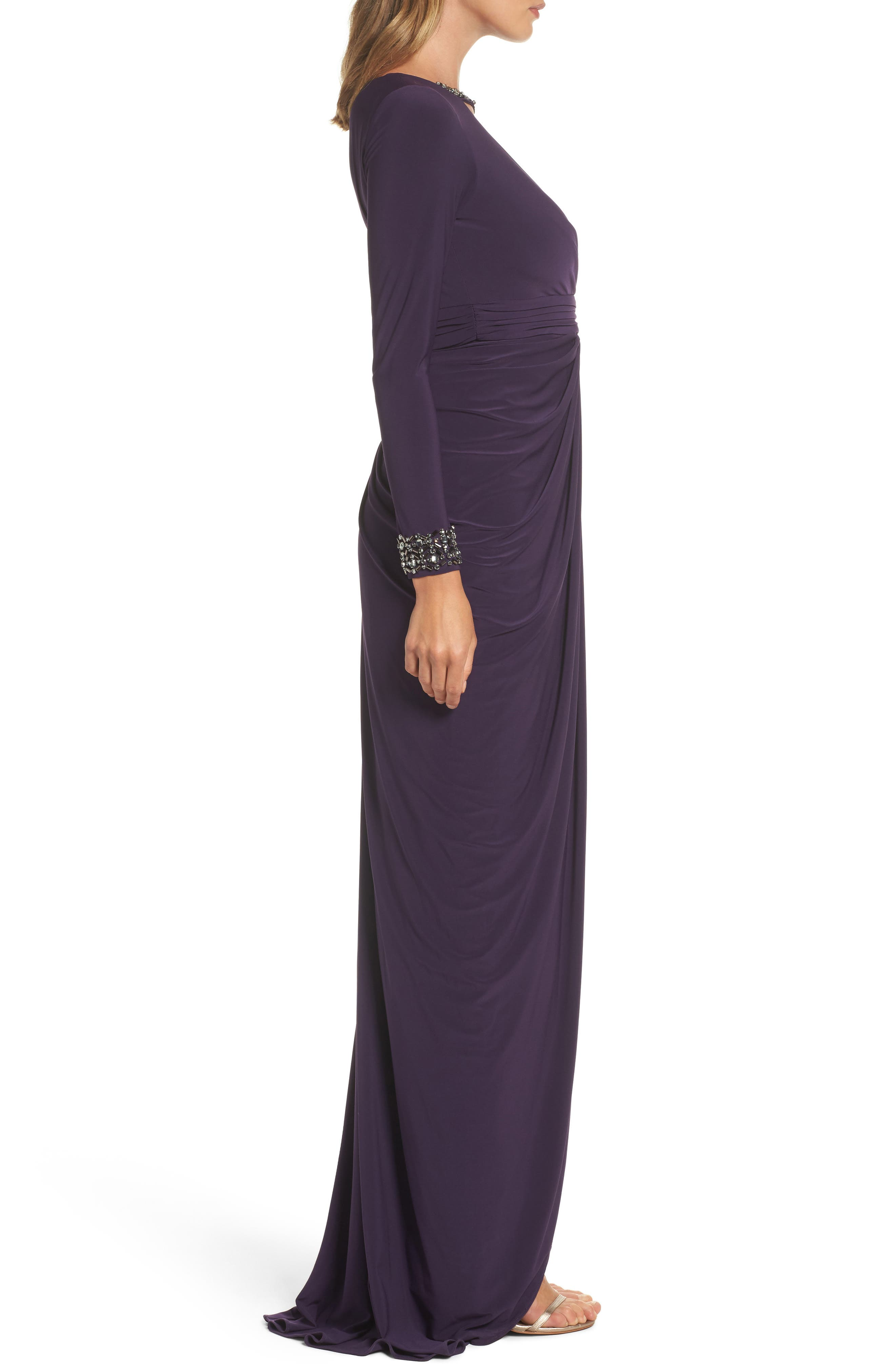 Beaded Jersey Gown,                             Alternate thumbnail 3, color,                             Aubergine