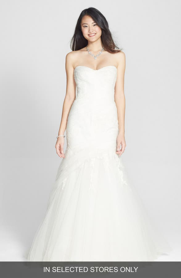 Main Image Bliss Monique Lhuillier D Tulle Chantilly Lace Trumpet Dress