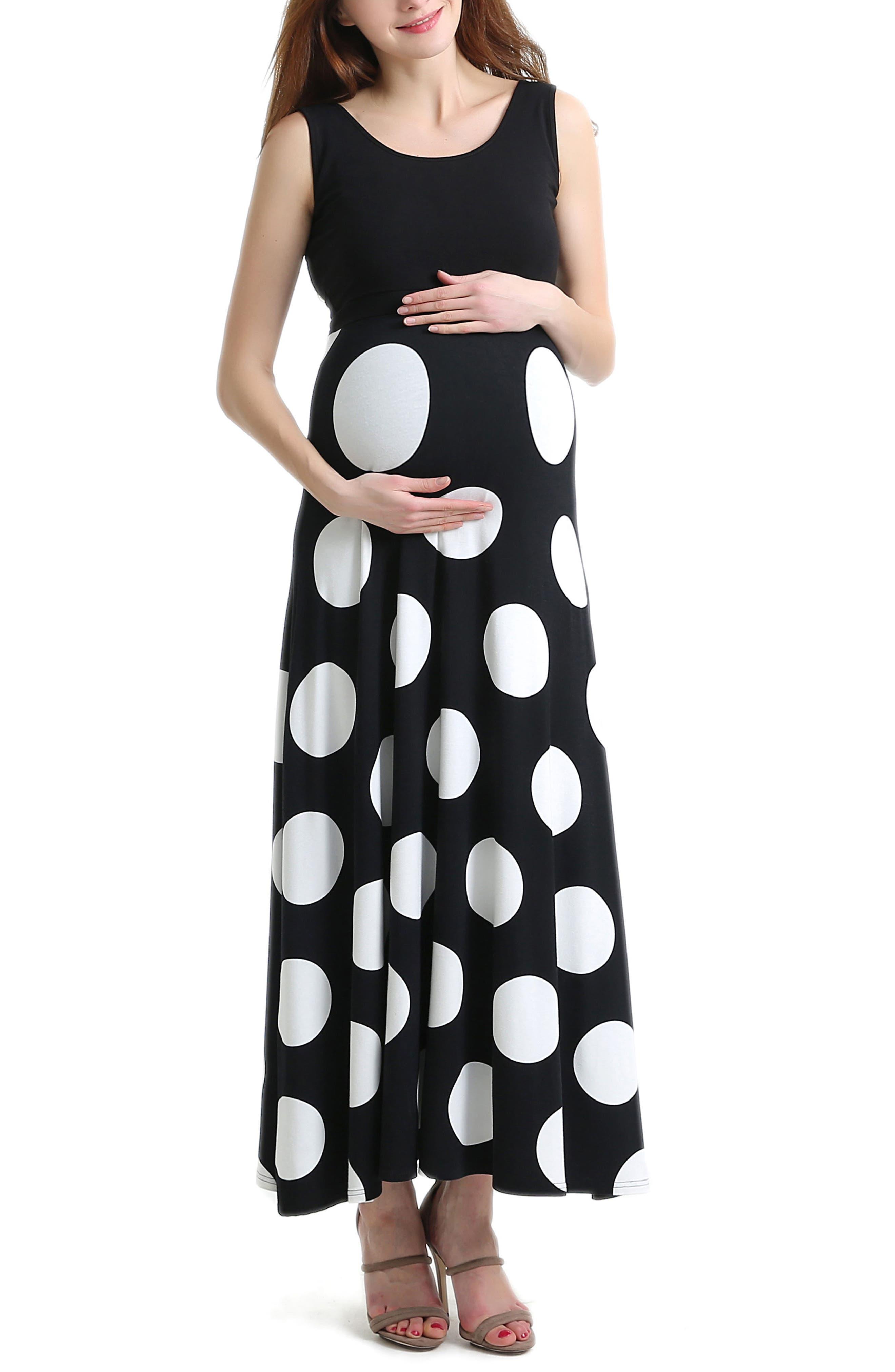 Courtney Polka Dot Maternity Maxi Dress,                         Main,                         color, Black
