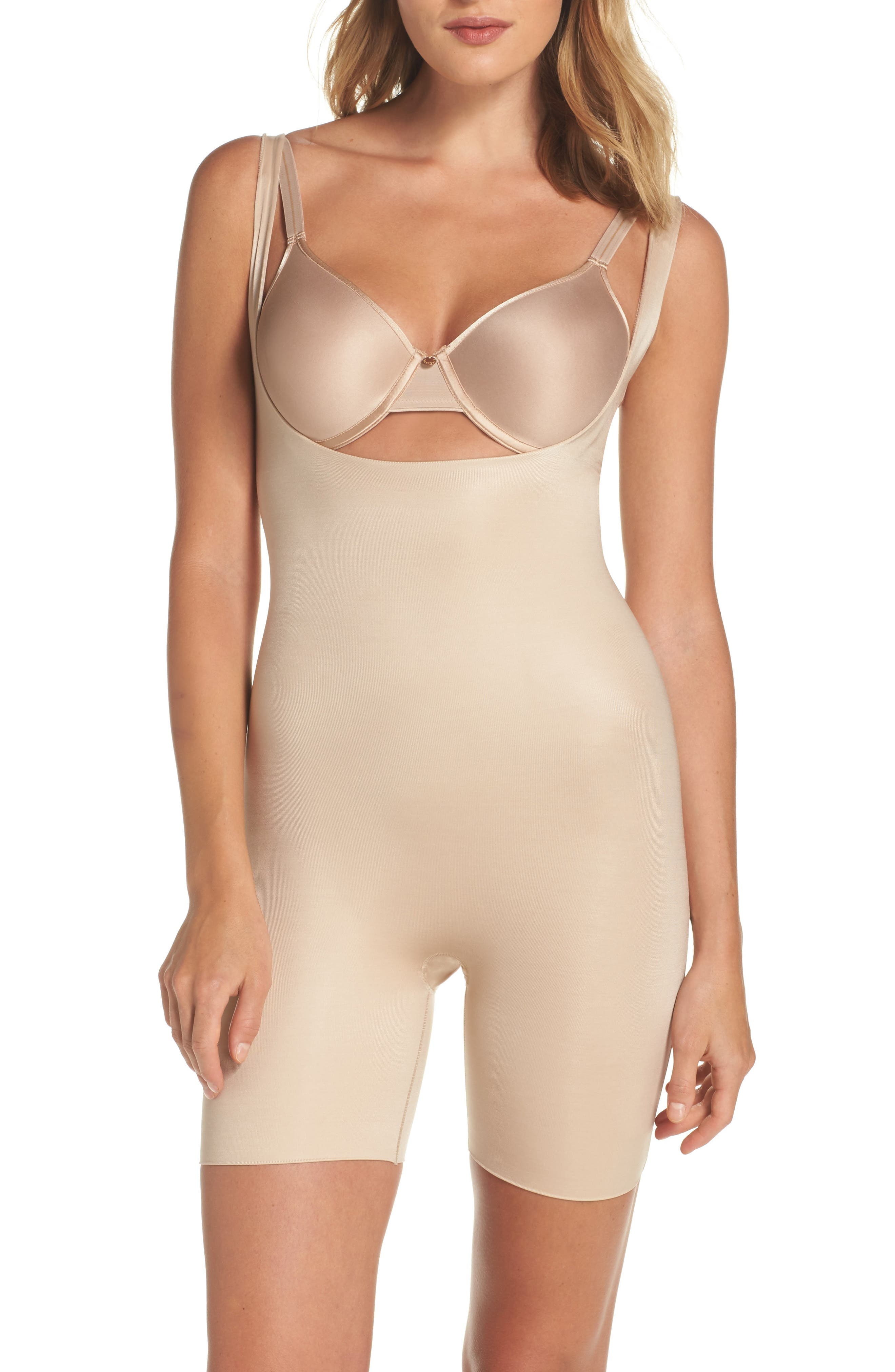 Power Conceal-Her Open Bust Bodysuit,                         Main,                         color, Natural Glam