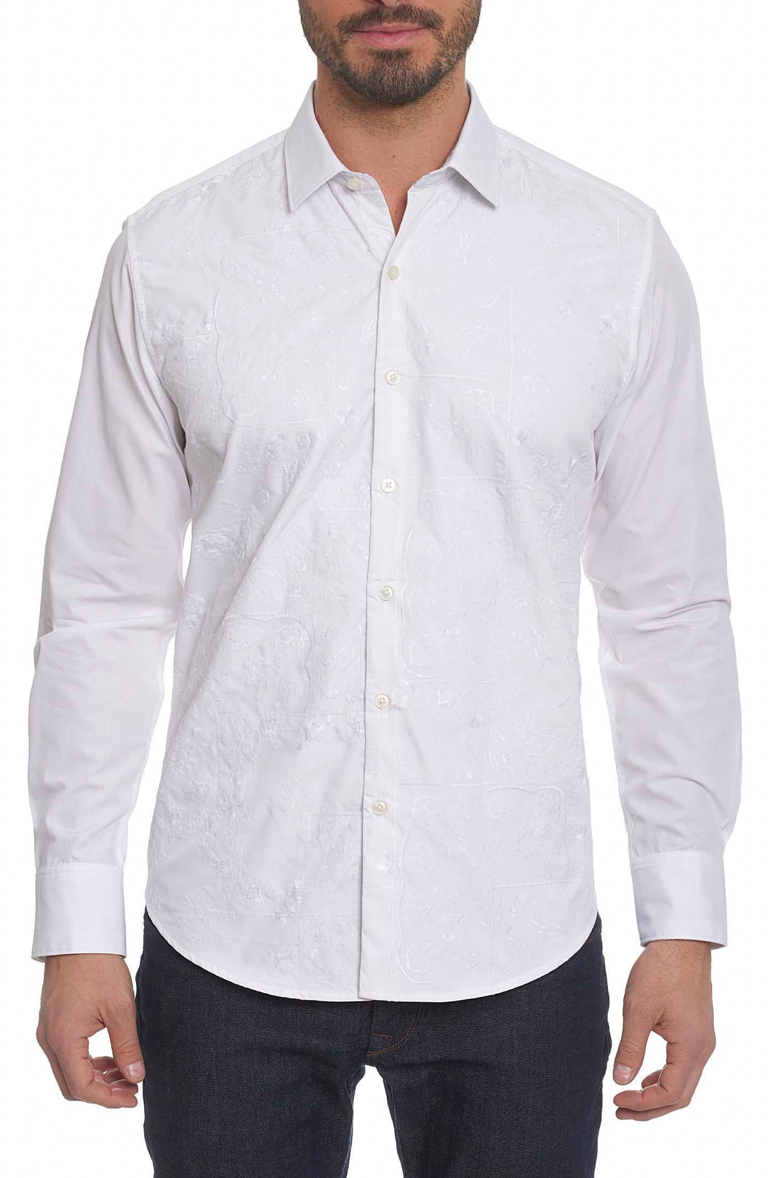 Onyx Classic Fit Embroidered Sport Shirt,                         Main,                         color, White