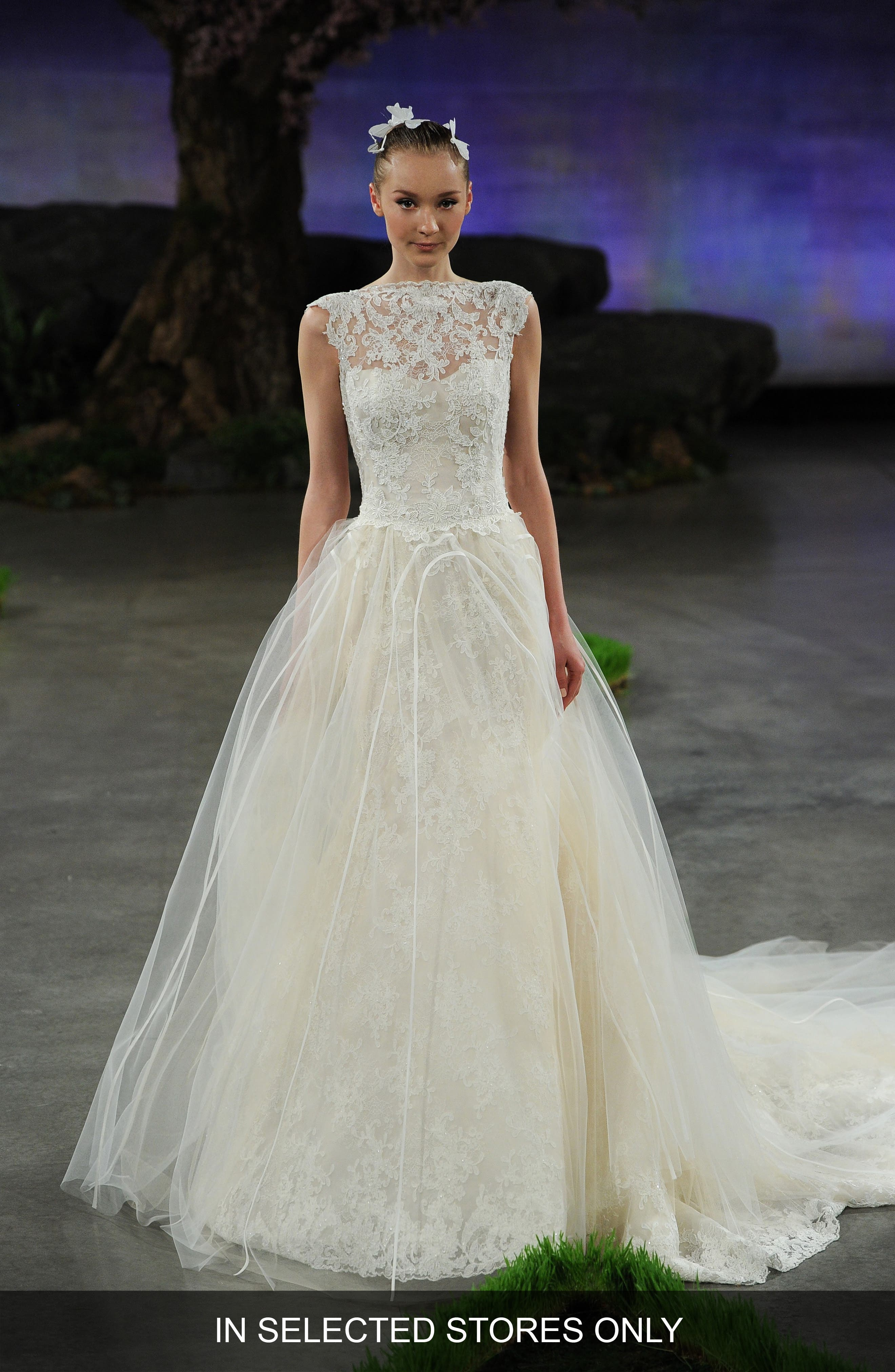 Ines Di Santo Margeaux Lace Tulle & Organza Overskirt with Detachable Train