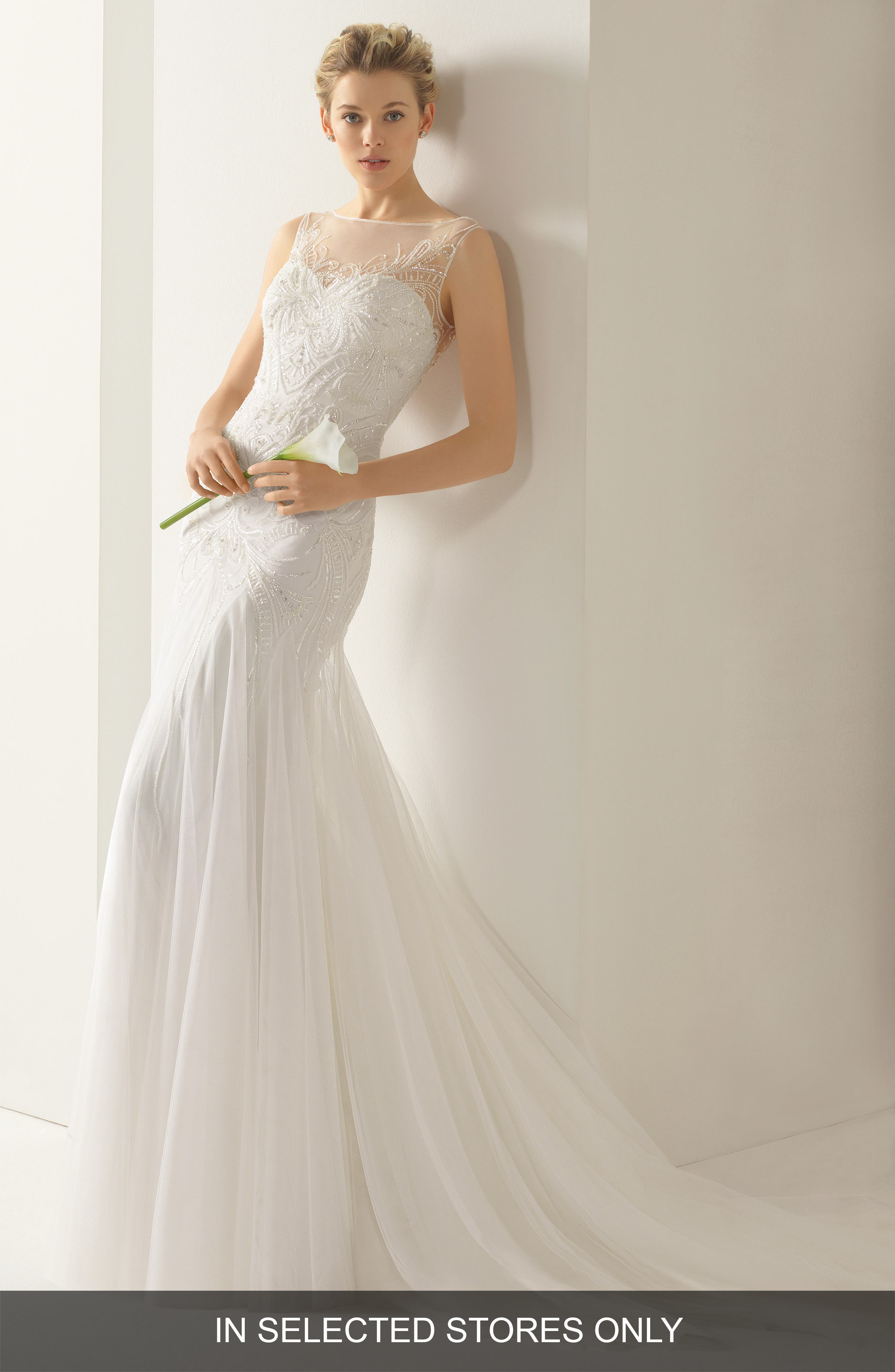 Alternate Image 1 Selected - Rosa Clara Soft Volga Beaded Tulle Trumpet Dress
