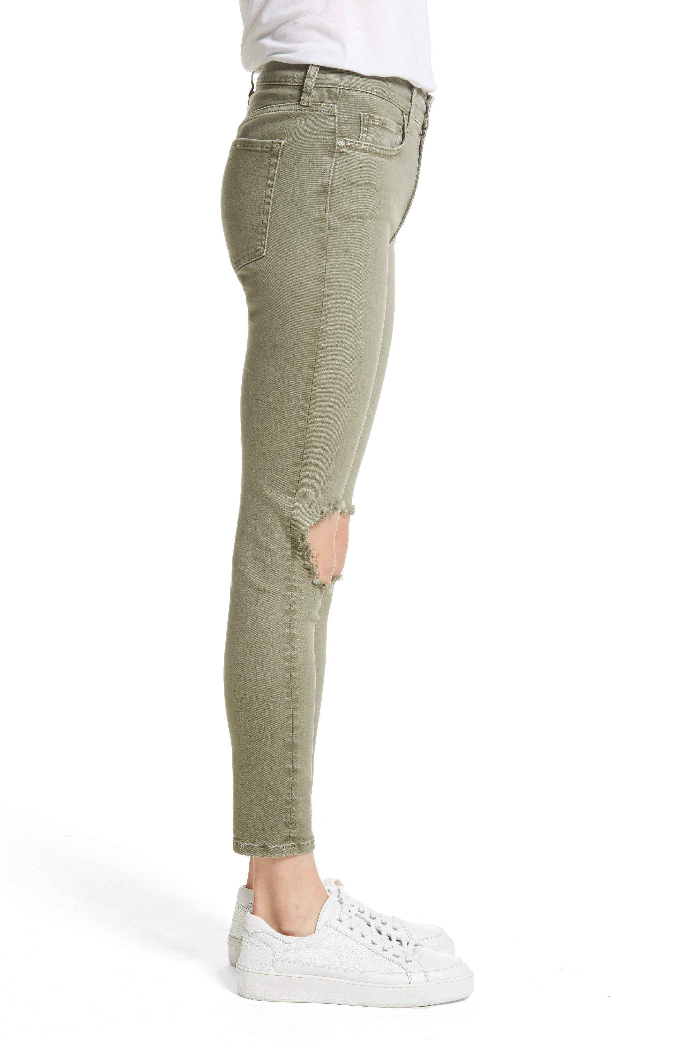 Alternate Image 3  - Free People High Rise Busted Knee Skinny Jeans (Moss)