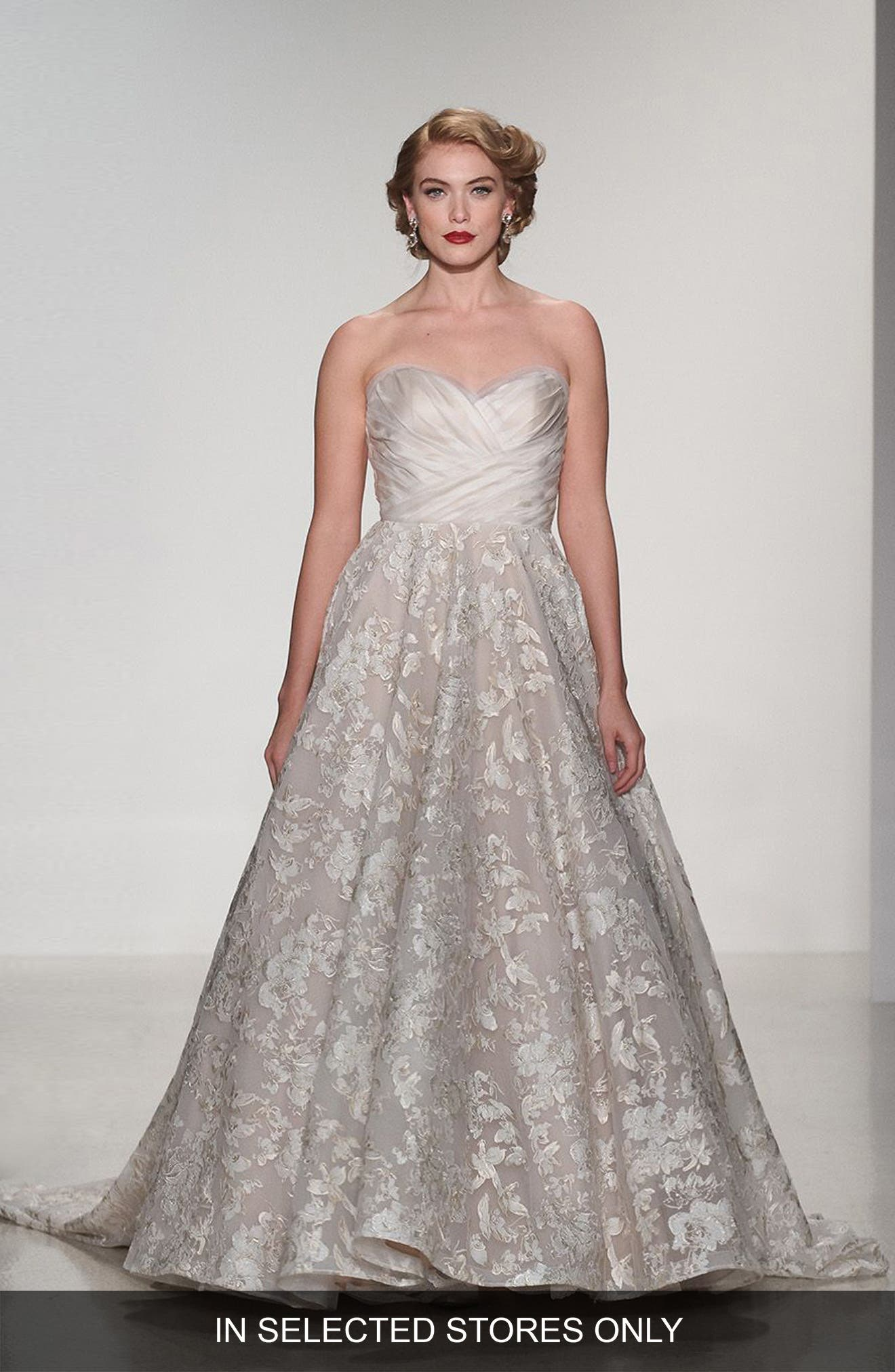 Matthew Christopher Shelby Strapless Organza & Lace Ballgown