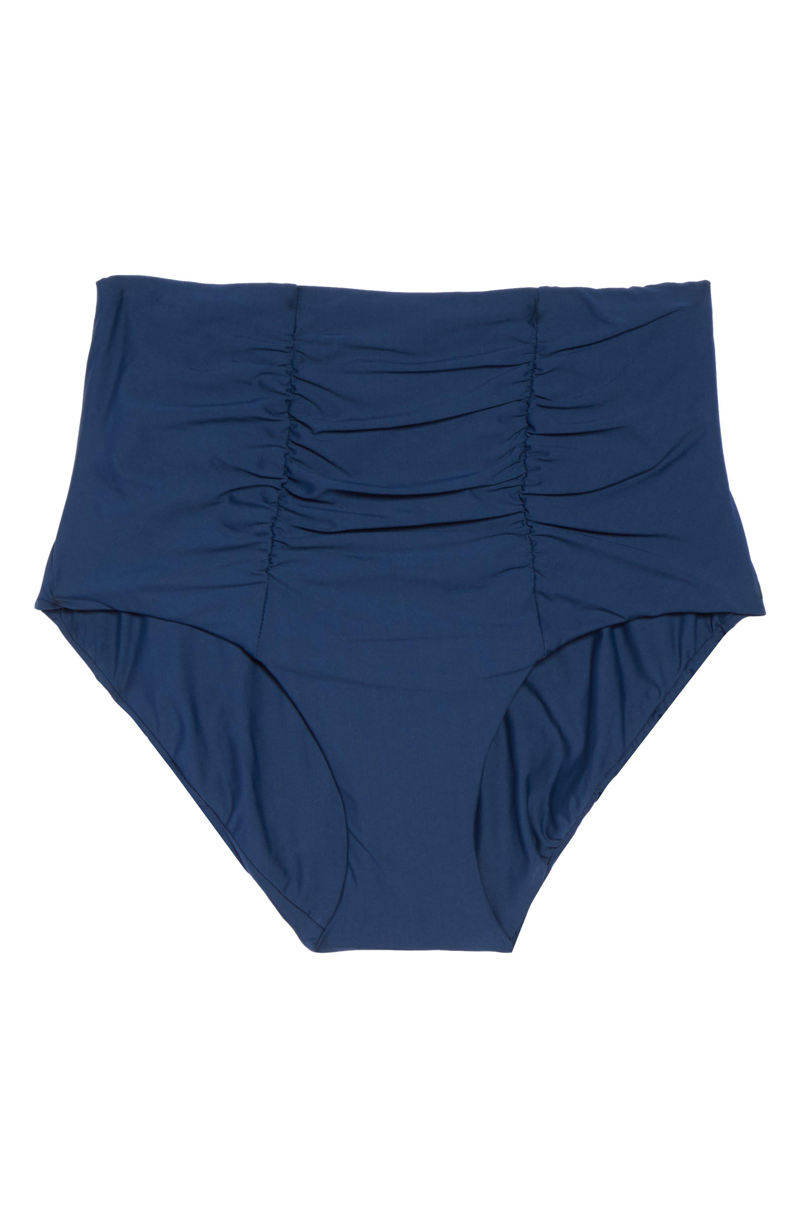 Color Code High Waist Bikini Bottoms,                             Alternate thumbnail 6, color,                             Indigo