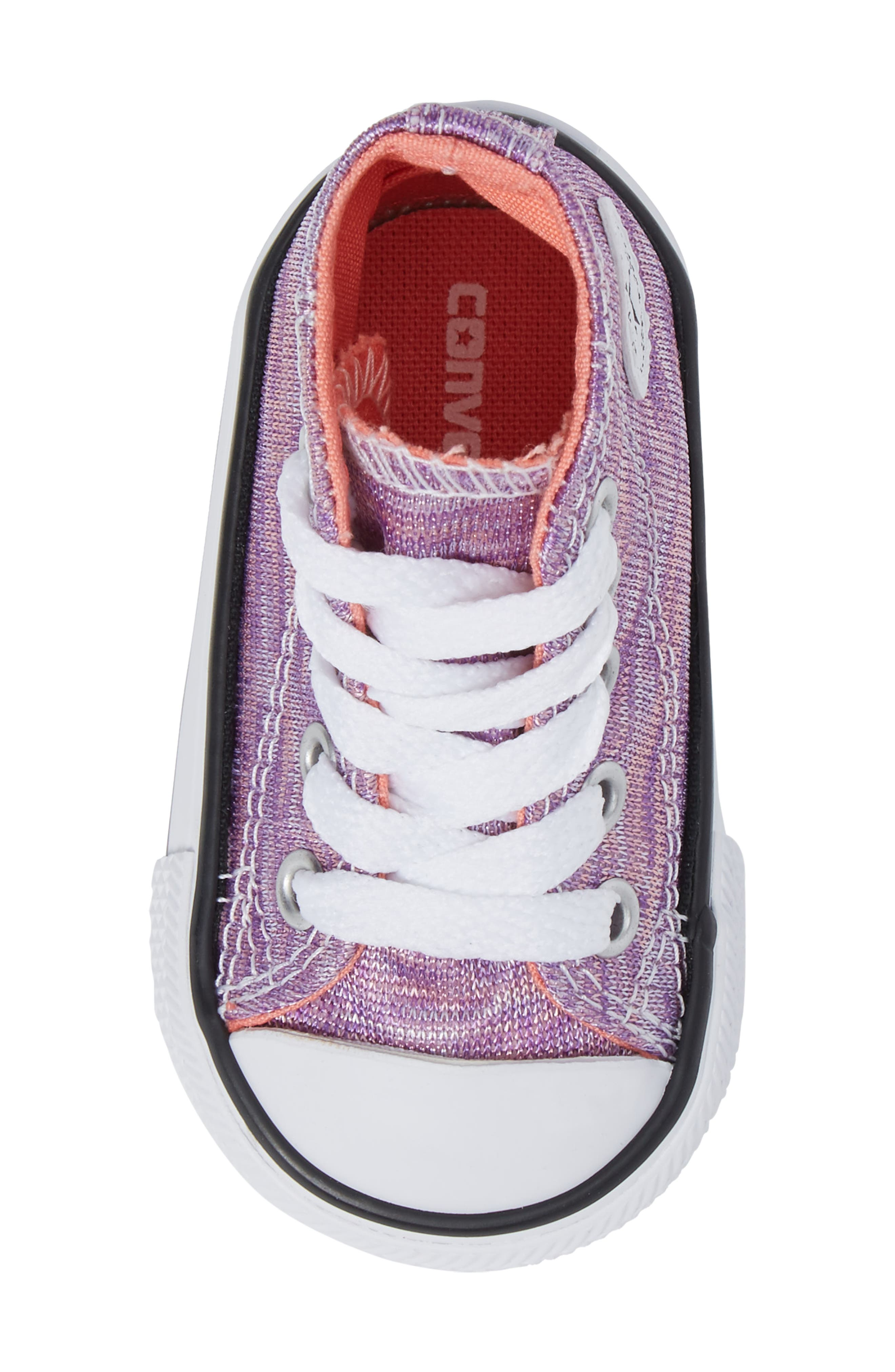 Chuck Taylor<sup>®</sup> All Star<sup>®</sup> Knit High Top Sneaker,                             Alternate thumbnail 5, color,                             Bright Violet Textile