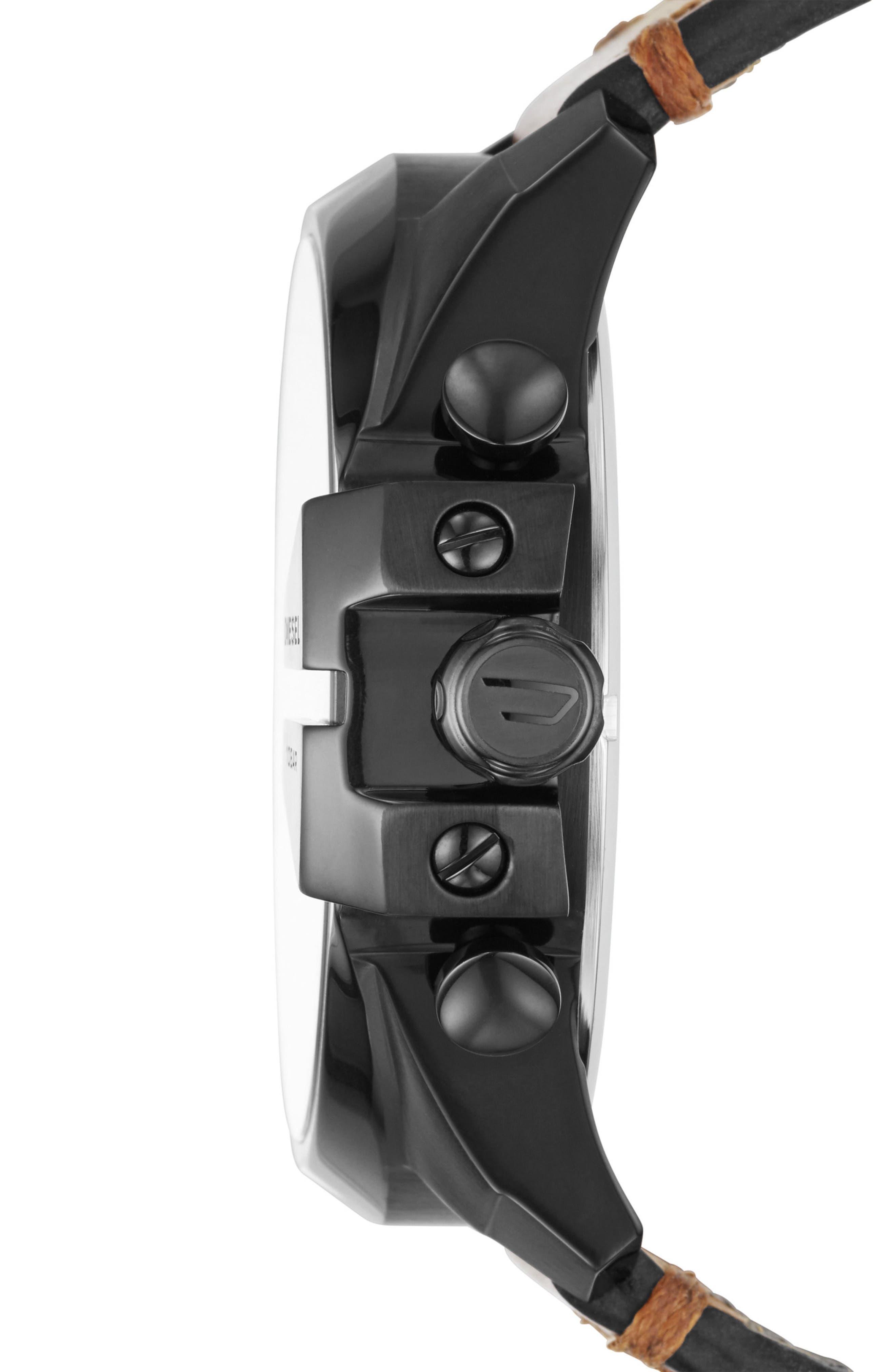 Mega Chief Chronograph Leather Strap Watch, 51mm,                             Alternate thumbnail 2, color,                             Black/ Tan