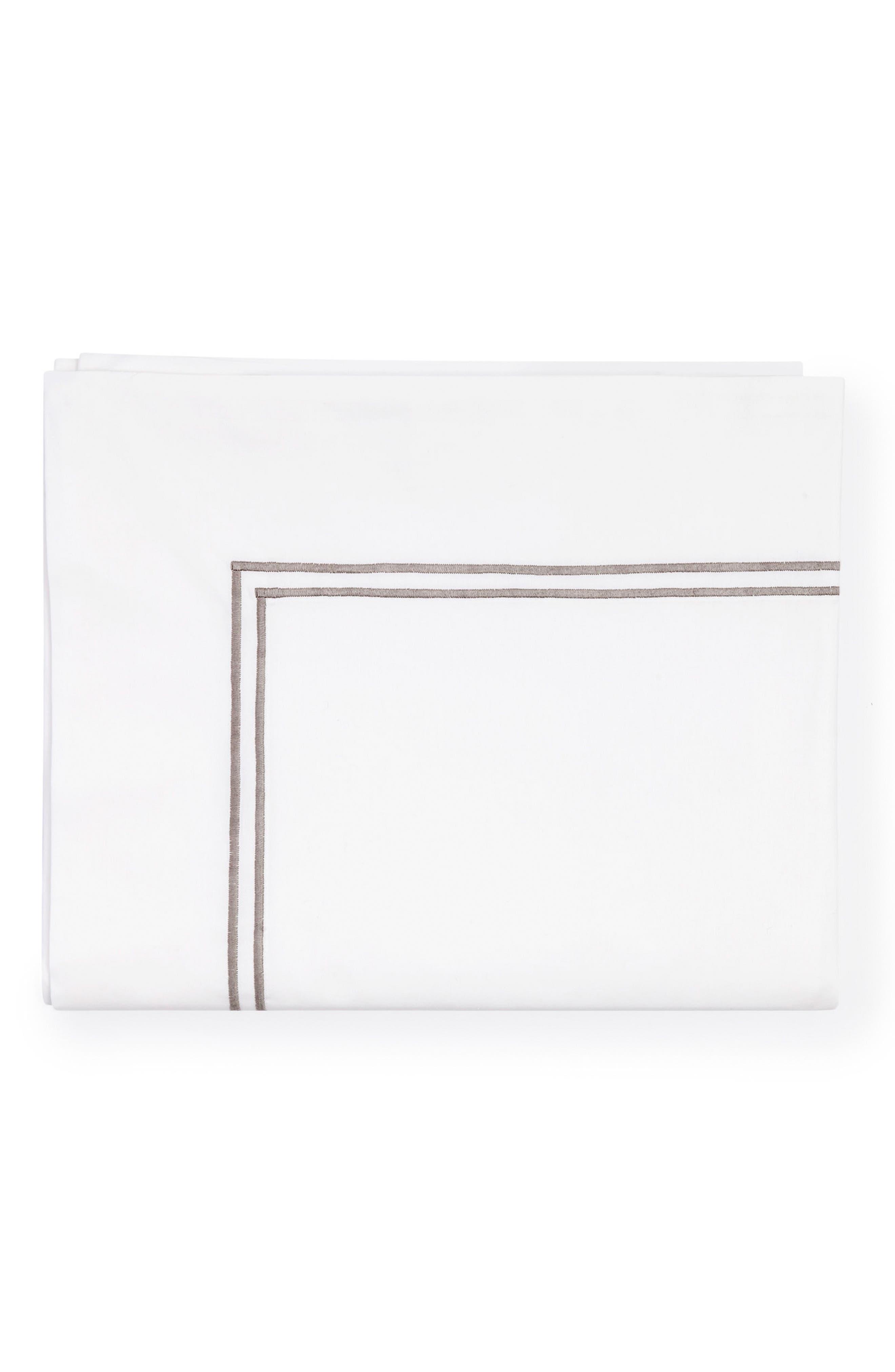 Grande Hotel Flat Sheet,                             Main thumbnail 1, color,                             White/ Grey