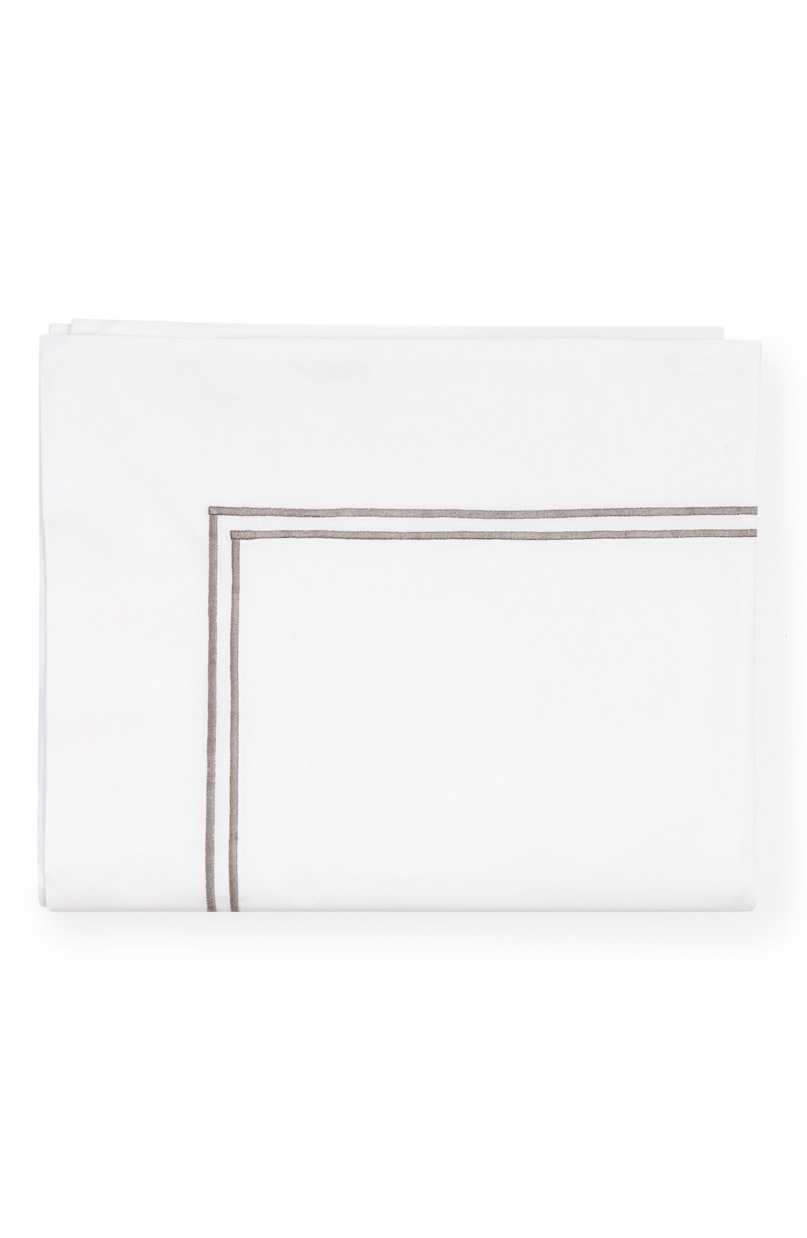 Grande Hotel Flat Sheet,                         Main,                         color, White/ Grey