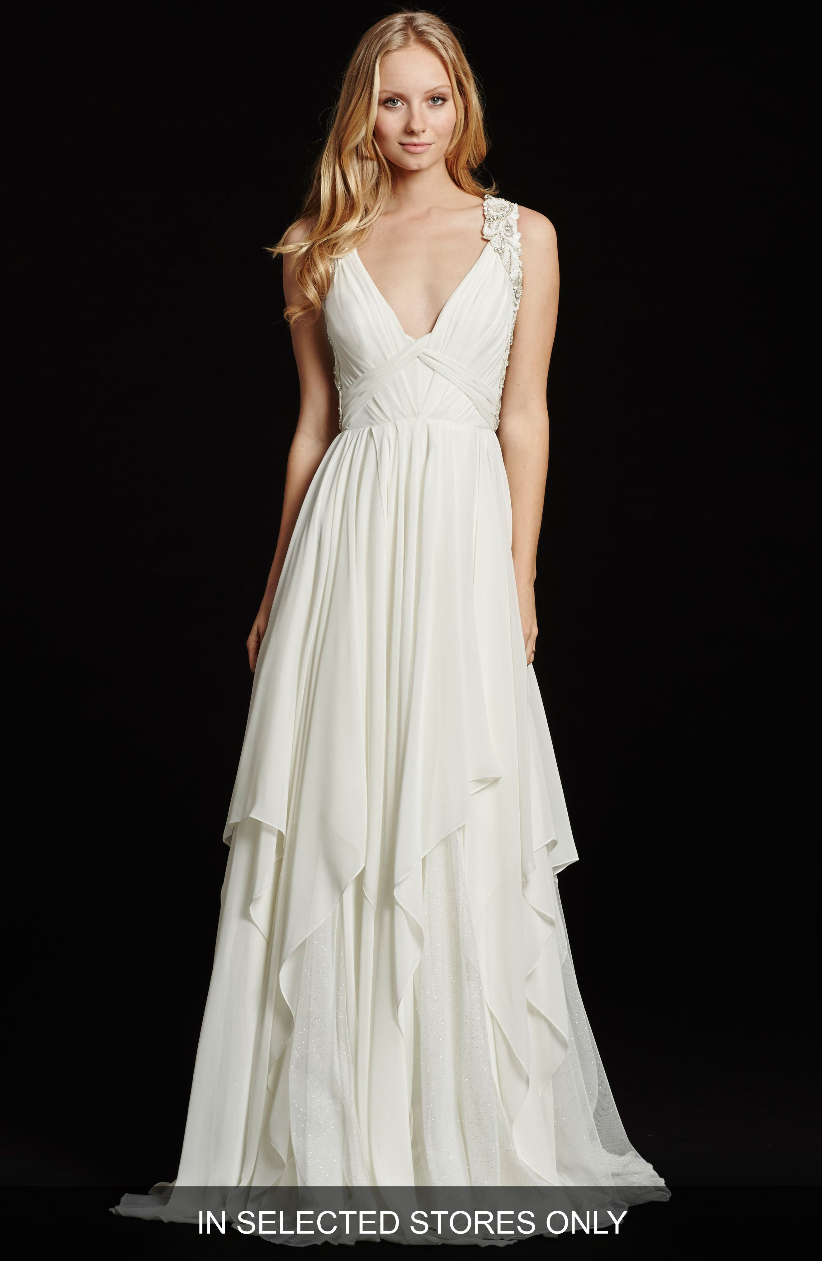 Gwen Sleeveless Grecian Draped Bodice Chiffon Gown,                         Main,                         color, Ivory