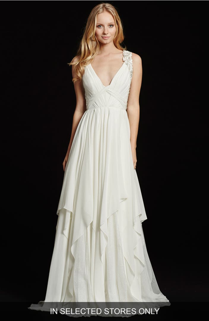 Hayley paige gwen sleeveless grecian draped bodice chiffon for Grecian chiffon wedding dress