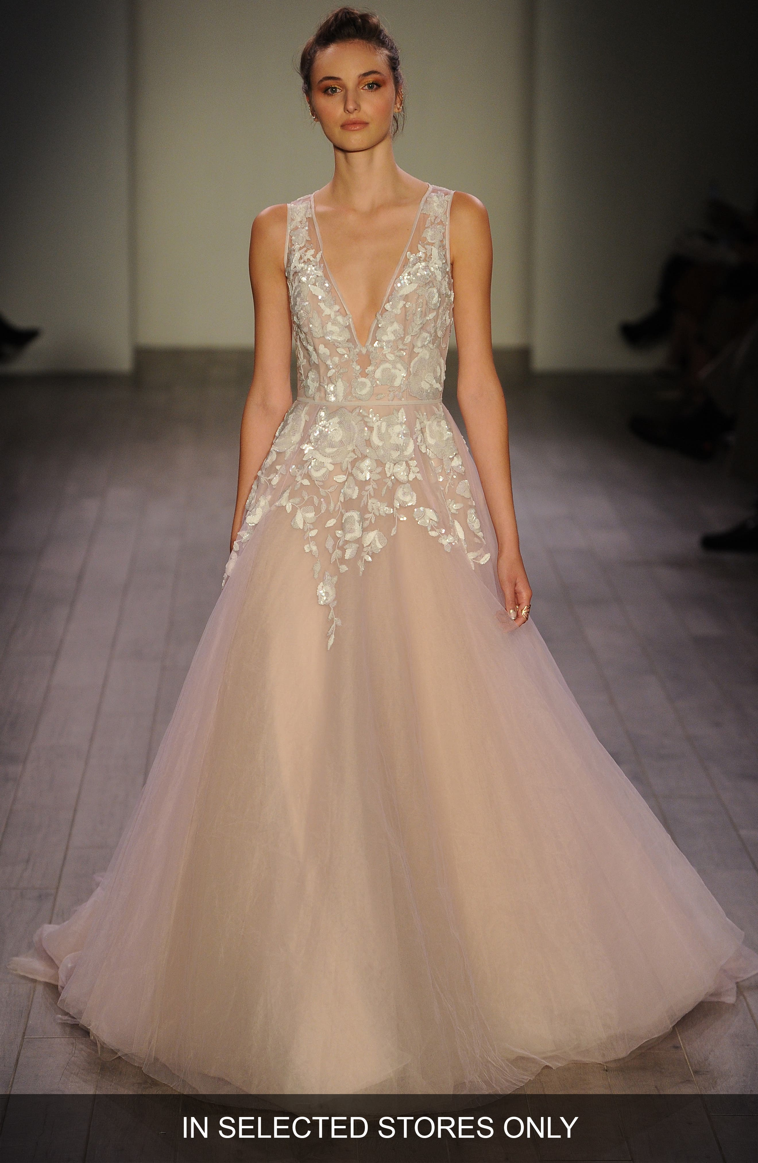 Alternate Image 1 Selected - Hayley Paige Leah Floral Sequin V-Neck Tulle Ballgown
