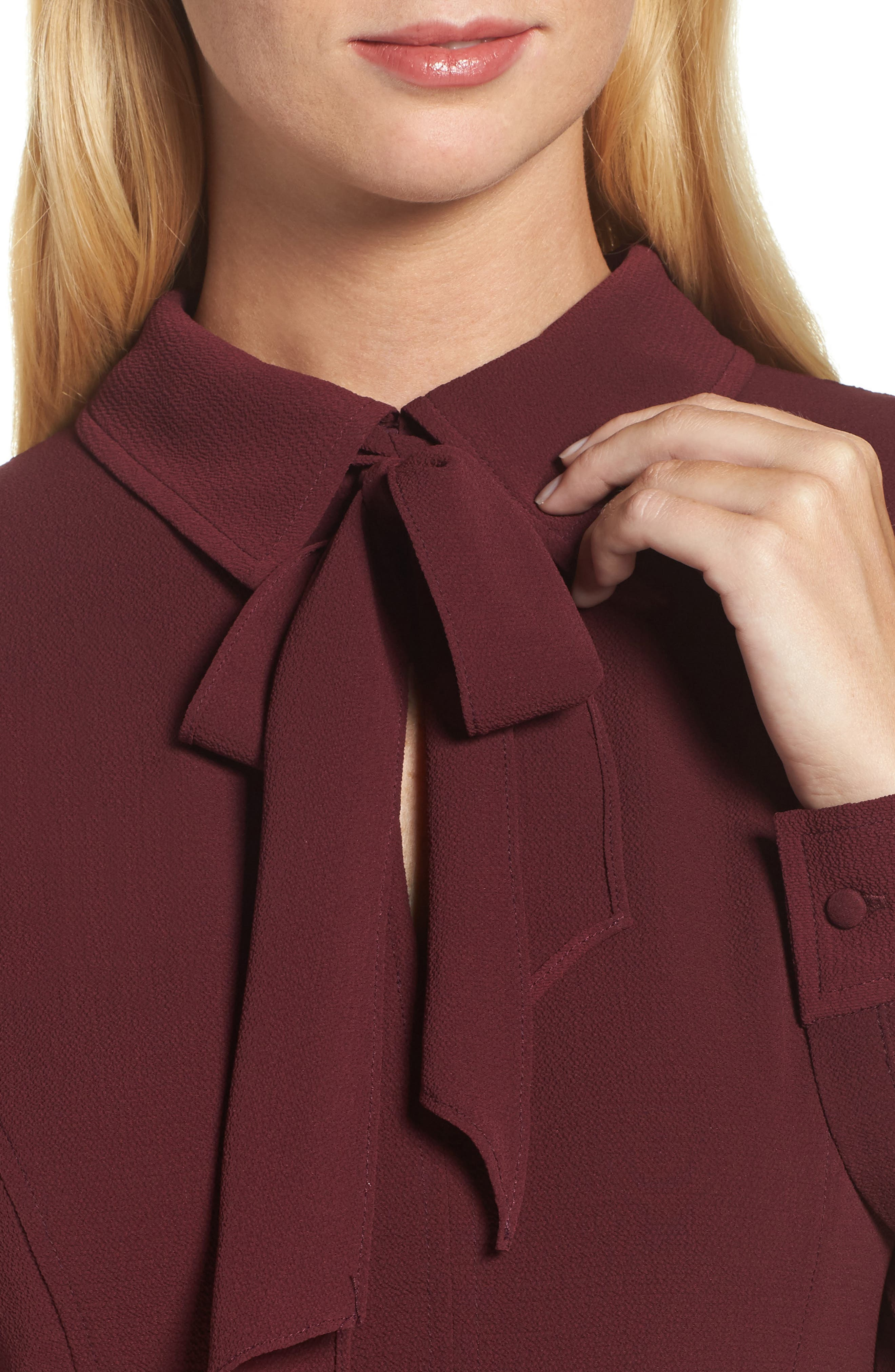 Crepe Bow Fit & Flare Dress,                             Alternate thumbnail 4, color,                             Wine