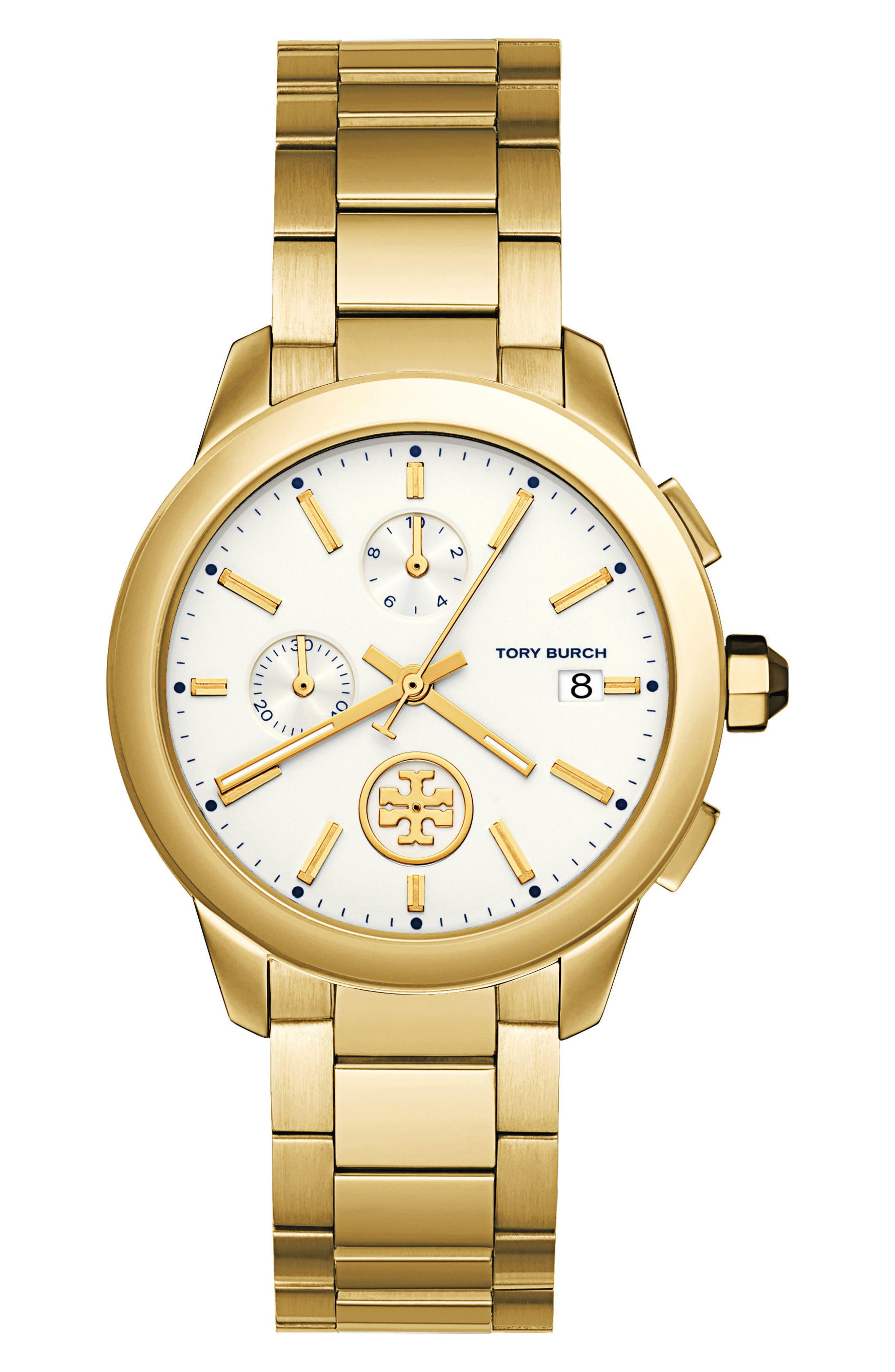 Main Image - Tory Burch Collins Chronograph Bracelet Watch, 38mm